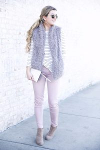 Striped long sleeve t-shirt and faux fur vest with pink pants! Details on fashion blog daily dose of charm by lauren lindmark