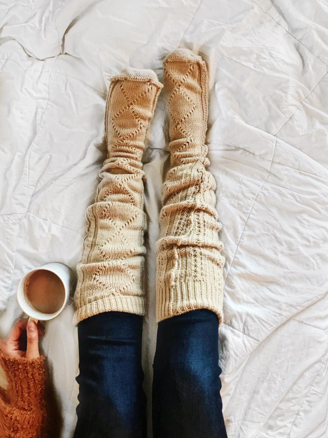 Cozy cable knit socks on the bed fall photo fall inspiration