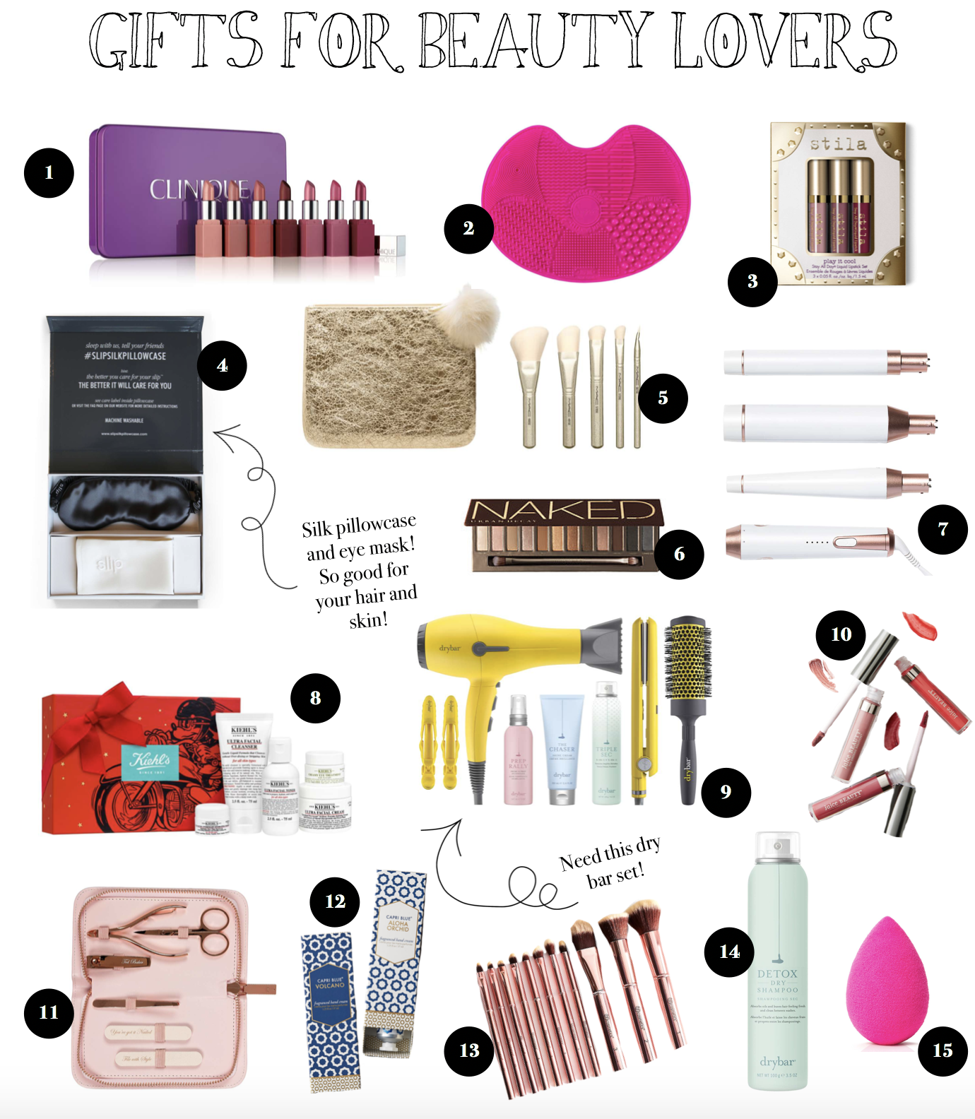 12 Gift Guides of 2017 Gift ideas for beauty lovers - make up, hair, beauty and more! on fashion blog daily dose of charm by lauren lindmark