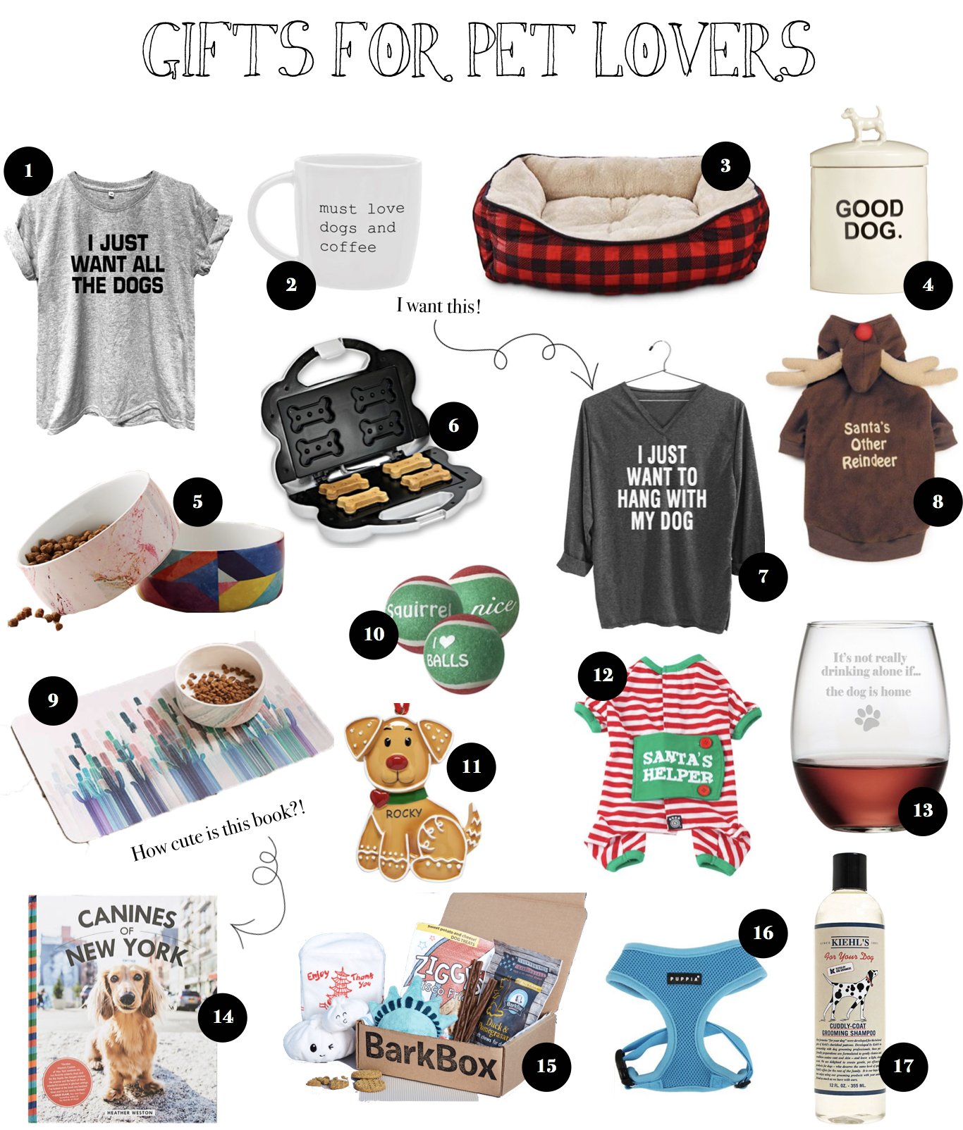 12 Gift Guides of 2017 Gift ideas for pet lovers, accessories, toys, shirts, and more! on fashion blog daily dose of charm by lauren lindmark