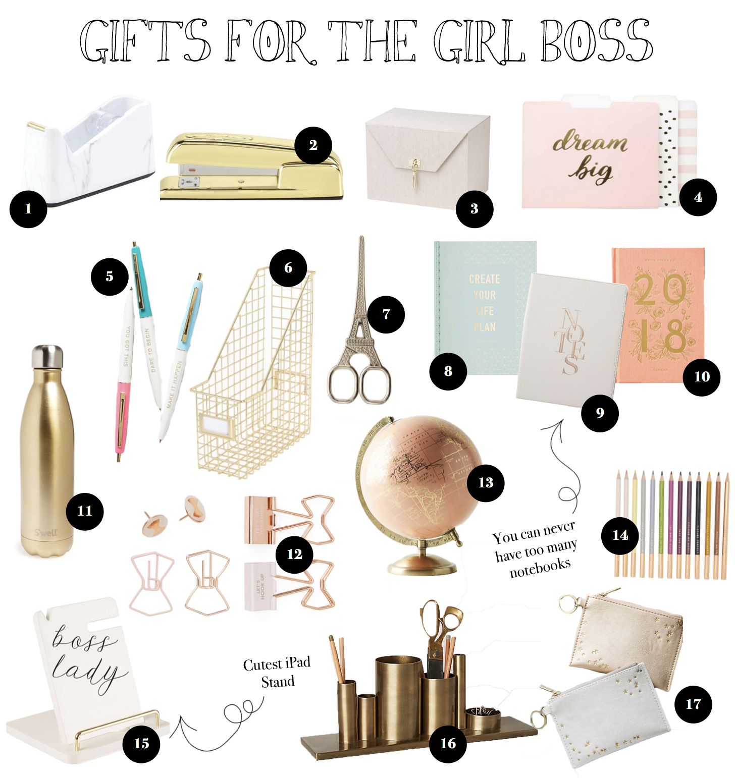 12 Gift Guides of 2017 Gift ideas for girl bosses, office supplies and more! on fashion blog daily dose of charm by lauren lindmark