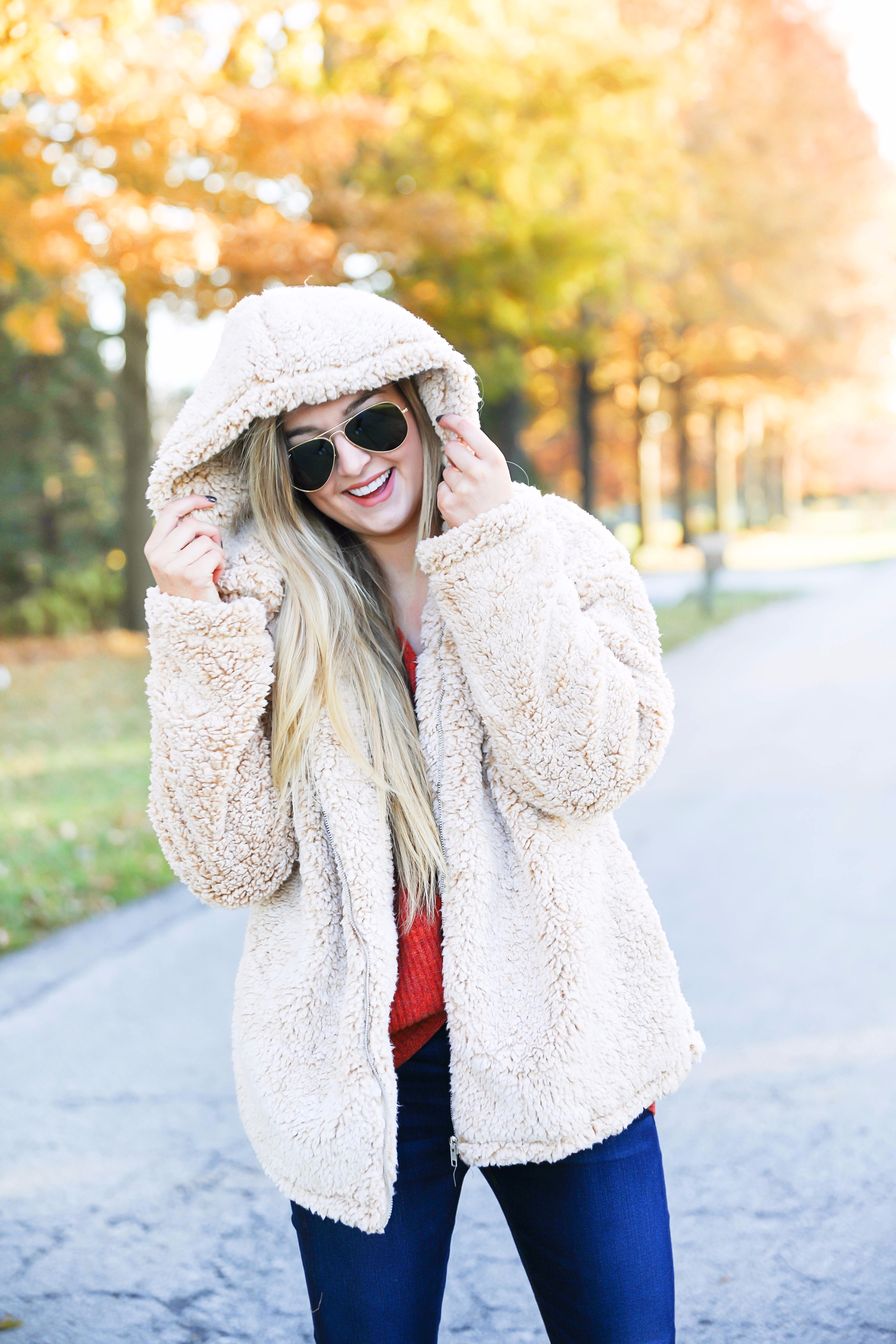 red sweater and teddy bear coat this adorable fall outfit is so cozy and the