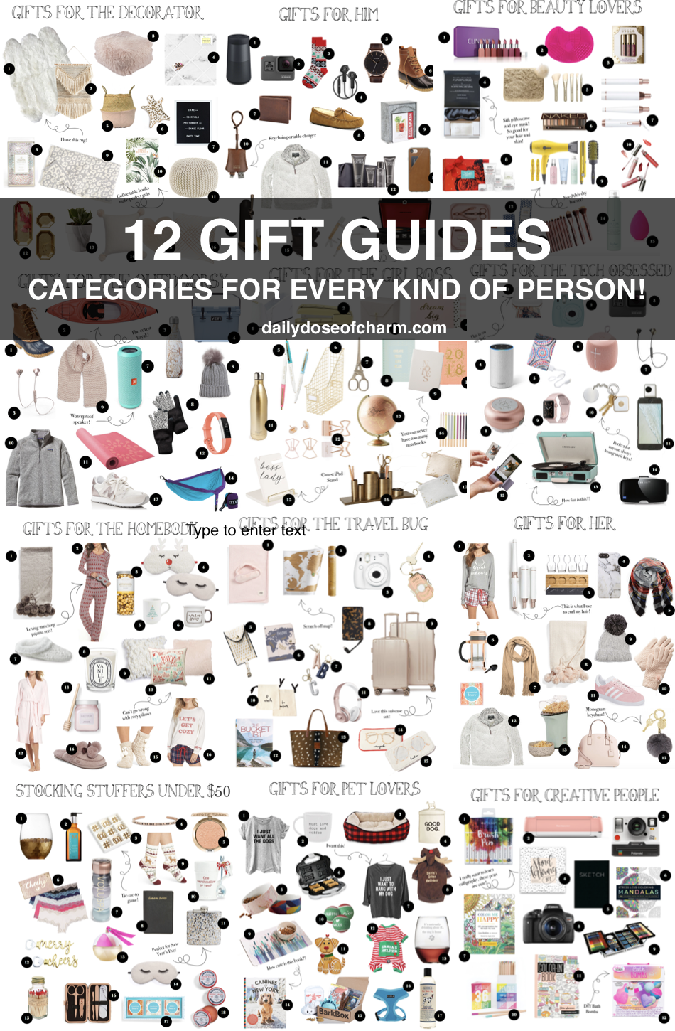 Gift guides for 2017! 12 gift guides for every kind of person, for her, him, technology lovers, beauty lovers, outdoorsy, travelers, pet lovers, girl bosses, creative people, stocking stuffers, decorator, and more!