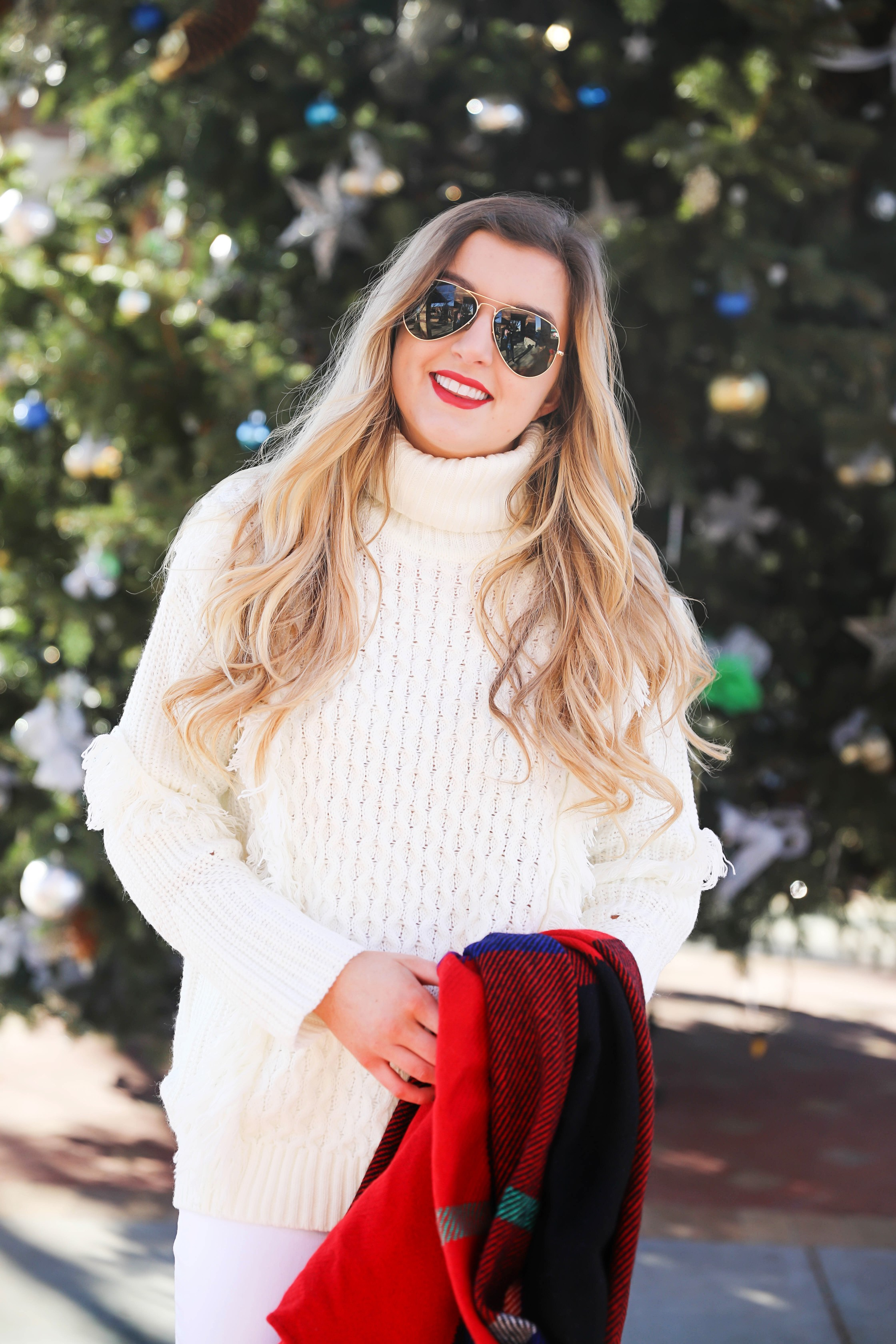 All White Winter Outfit With Red Plaid Tassel Scarf From J