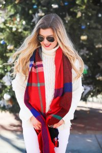All white winter outfit with red plaid tassel scarf from j.crew. Also getting personal and talking about why I dropped out of college! Details on fashion blog daily dose of charm by lauren lindmark
