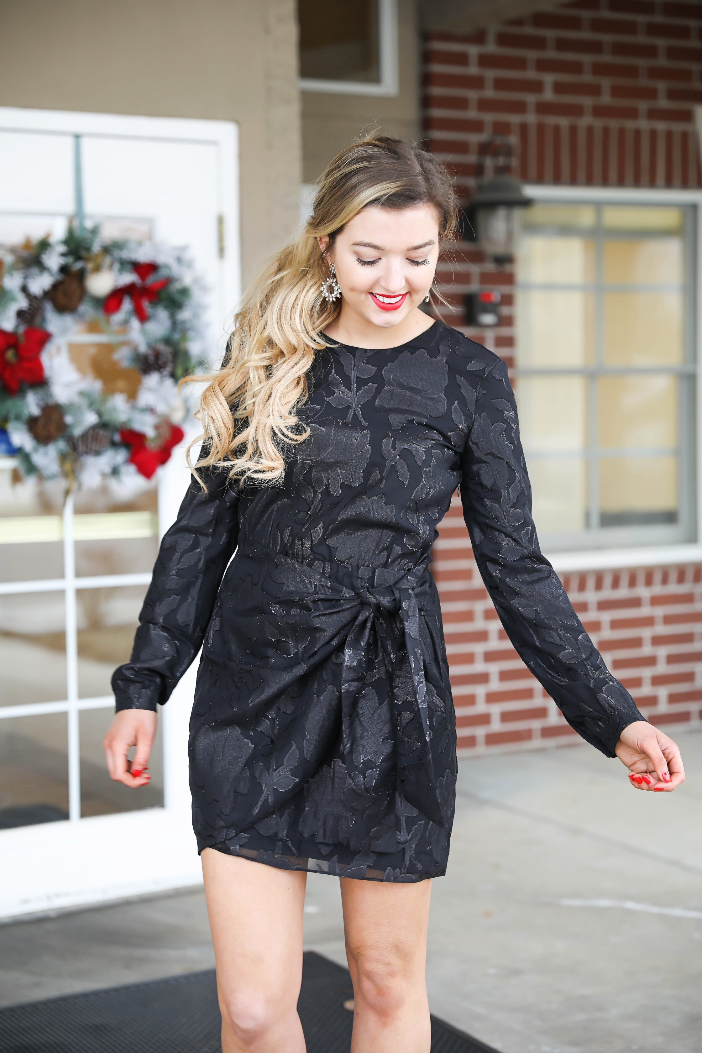 Black tied classy dress with cluster earrings by baublebar! Cute winter or holiday look, super cute holiday dress! Details on fashion blog daily dose of charm by lauren lindmark