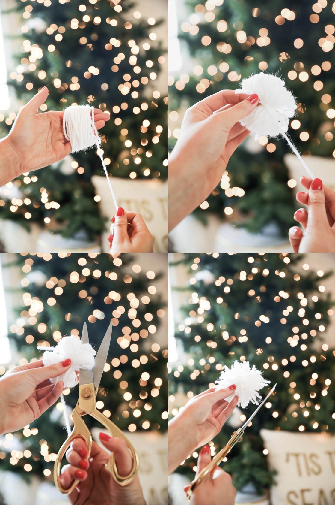 How to make pom poms! DIY pom poms made with yarn Holiday DIY decor! Learn how to make DIY snowball ornaments, tassel ornaments, pom pom ornaments, pom pom pillows, and pom pom garlands! Details on daily dose of charm lauren lindmark