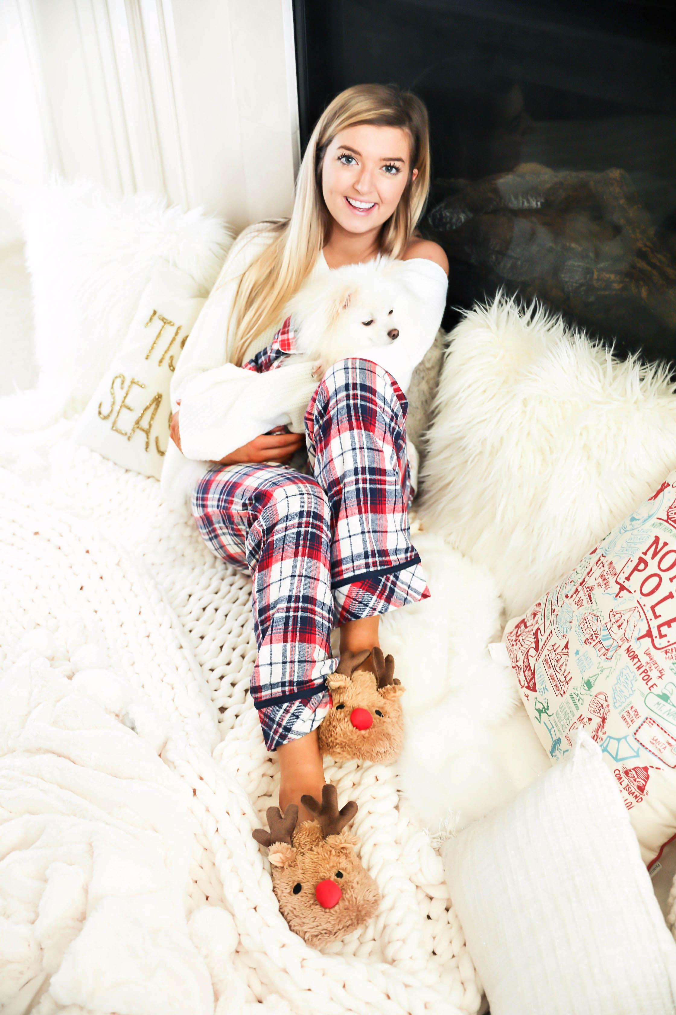05f2a39b8bdc Cute plaid matching pajamas with my white pomeranian!