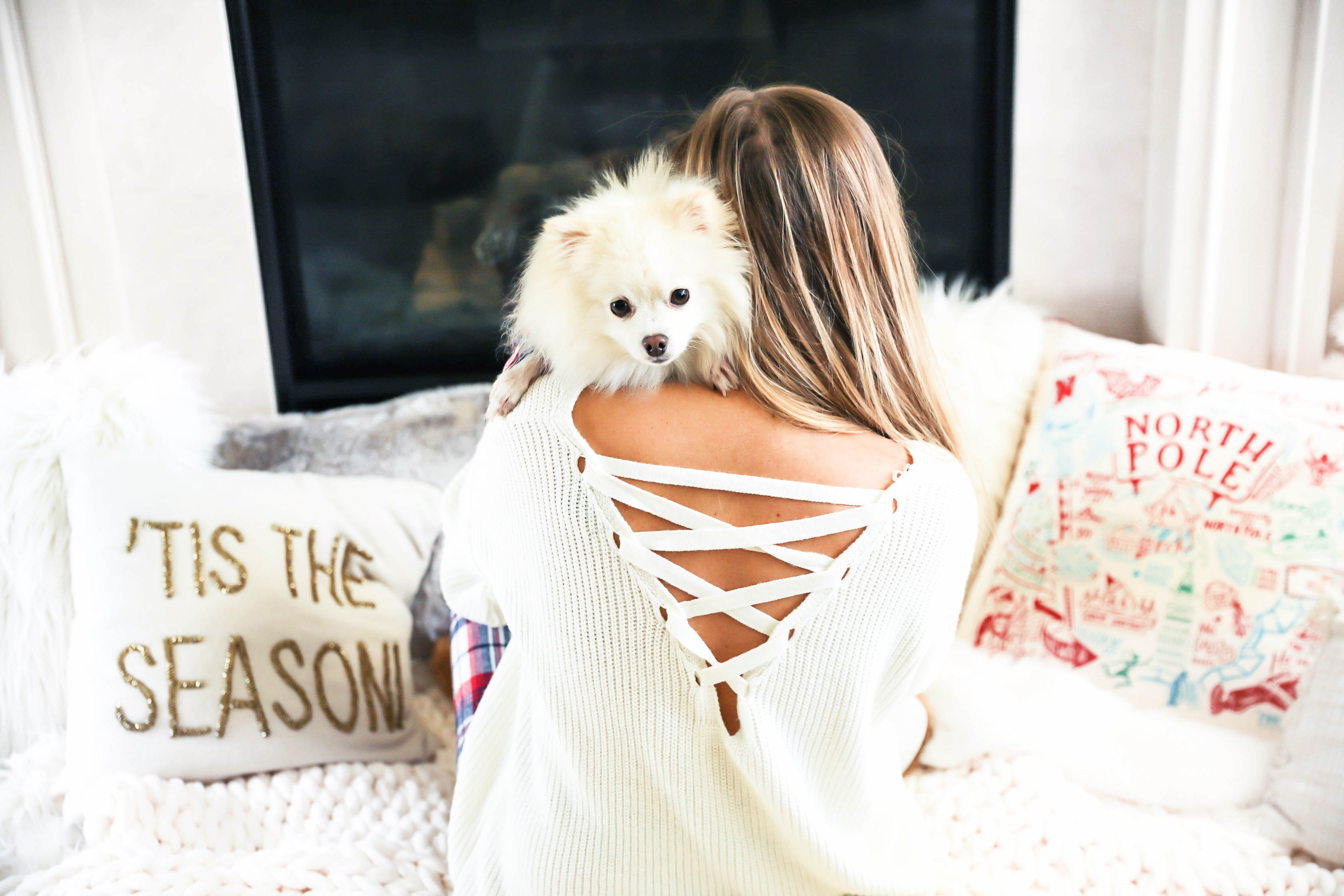 Matching pajamas with dog! Cute plaid matching pajamas with my white pomeranian! The cutest Pomeranian christmas photos! Details on fashion blog daily dose of charm by lauren lindmark