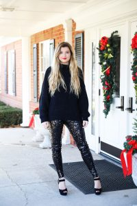 New Years eve outfit idea! Sequin pants and a black sweater, perfect for NYE! How to style sequin pants for nye! Details on fashio blog daily dose of charm by lauren lindmark
