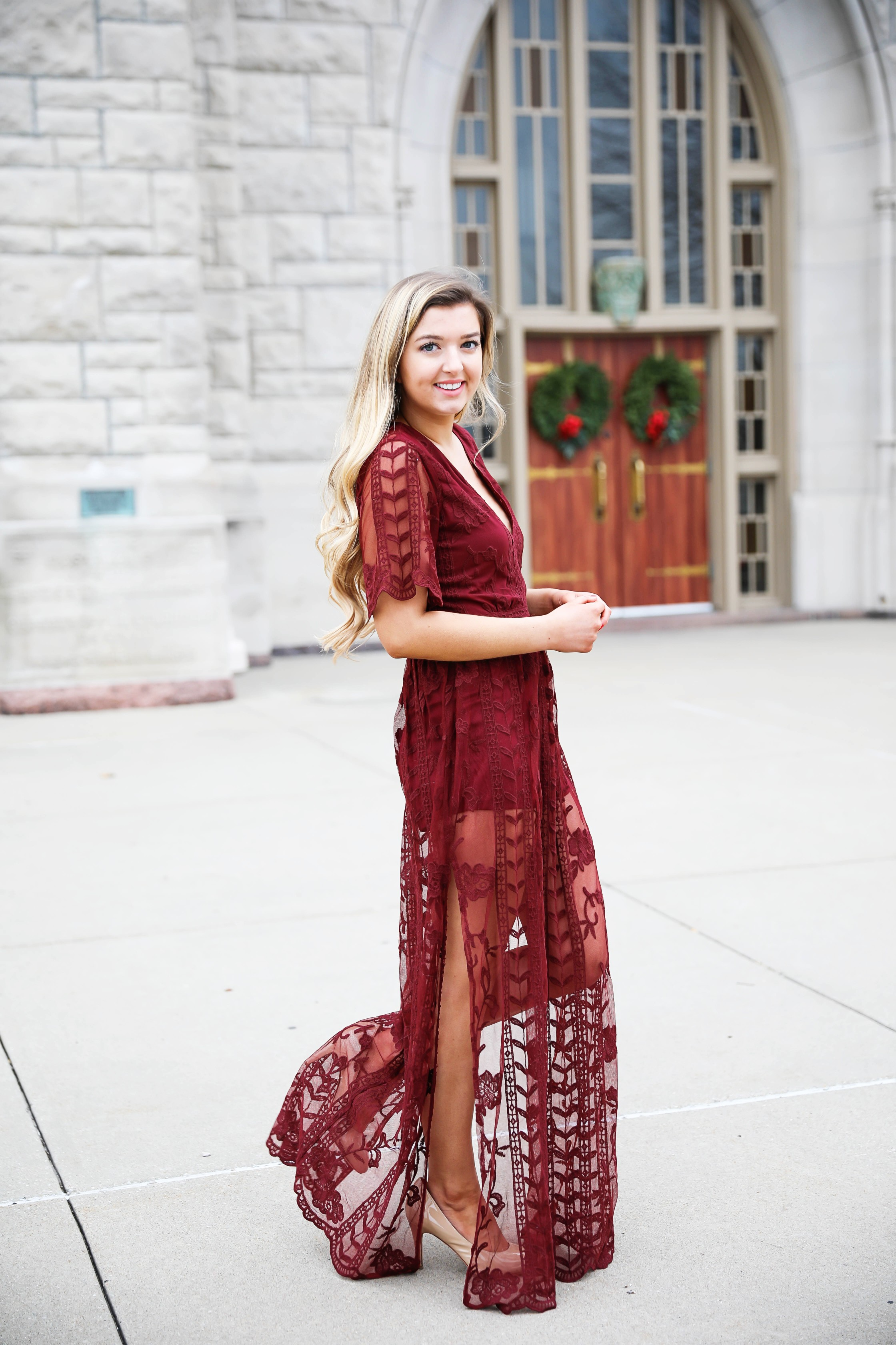 Red lace romper maxi dress for christmas! The cutest holiday dress! What I wore on christmas eve this year. Christmas Day outfit. Details on fashion blog daily dose of charm by lauren lindmark
