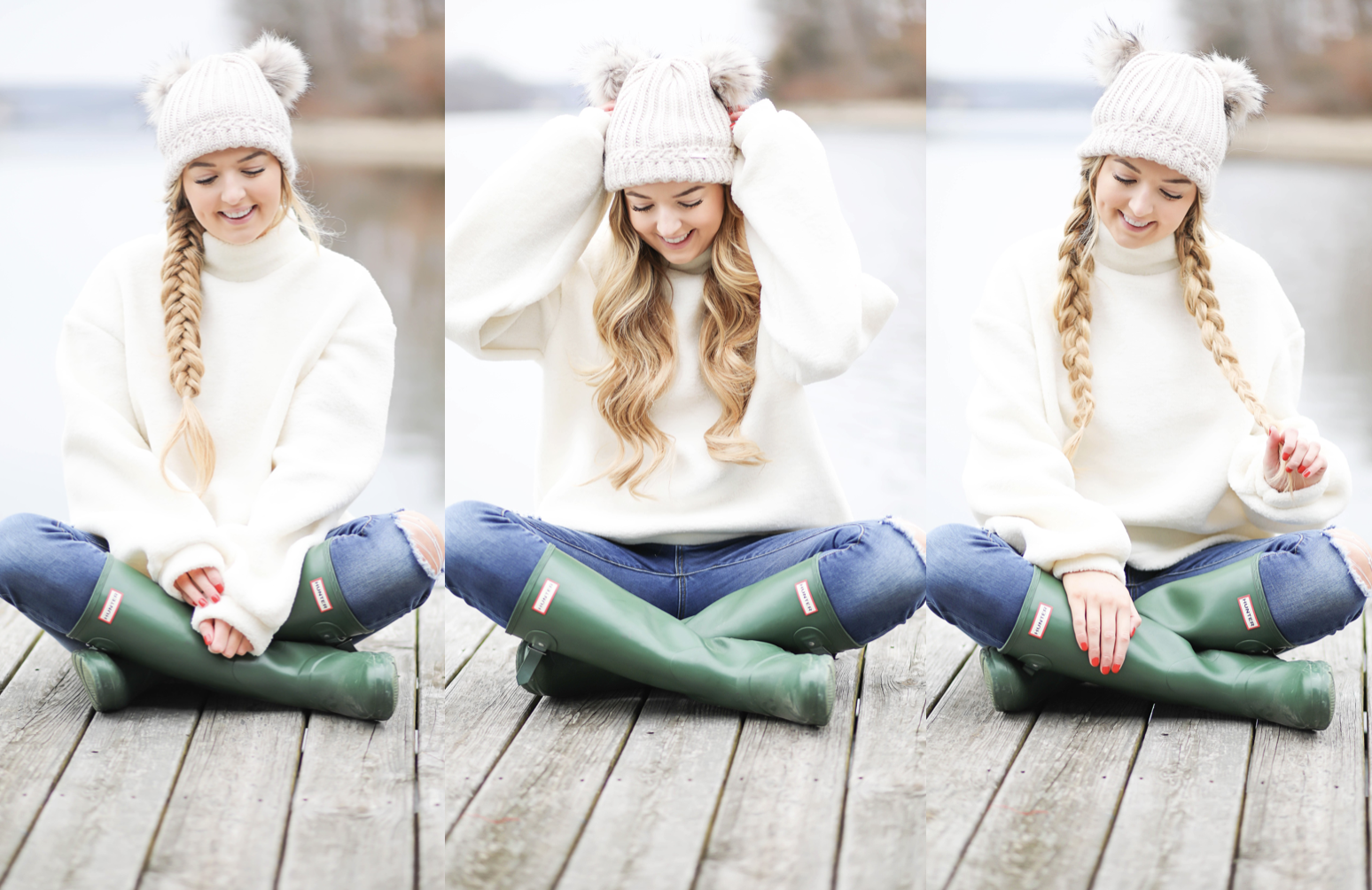Cozy soft sweater and pom pom beanie! How to wear your hair with a beanie! Beanie hairstyle ideas! Get the details on fashion blog daily dose of charm by lauren lindmark