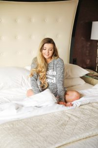 Bellagio hotel room bed photoshoot! Cozy pajama day in bed with room service! Details on daily dose of charm by lauren lindmark