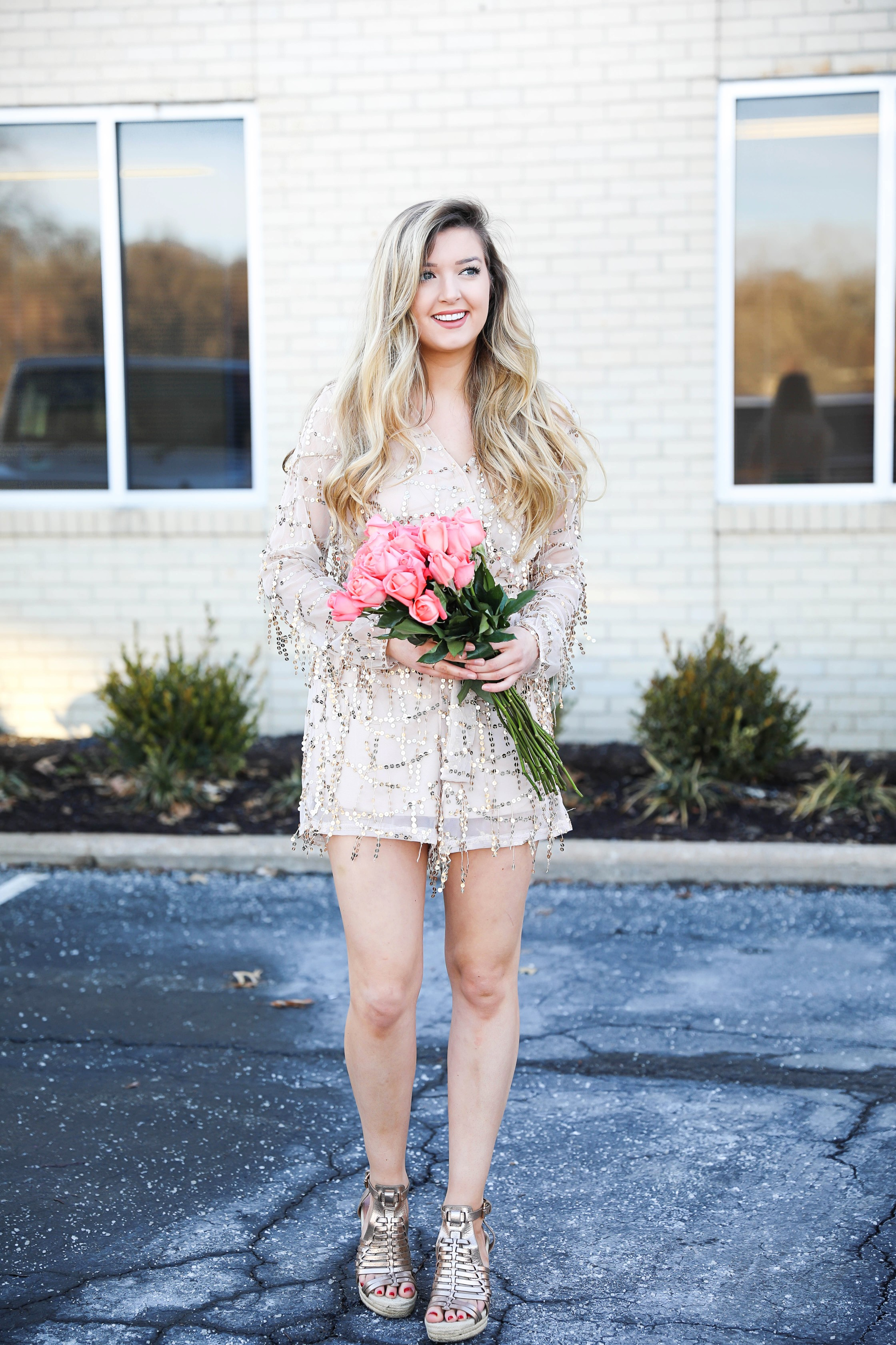 Gold sequin romper from MissGuided! Valentine's day romper! Girly date outfit! Blogger with rose bouquet on fashion blog daily dose of charm by lauren lindmark