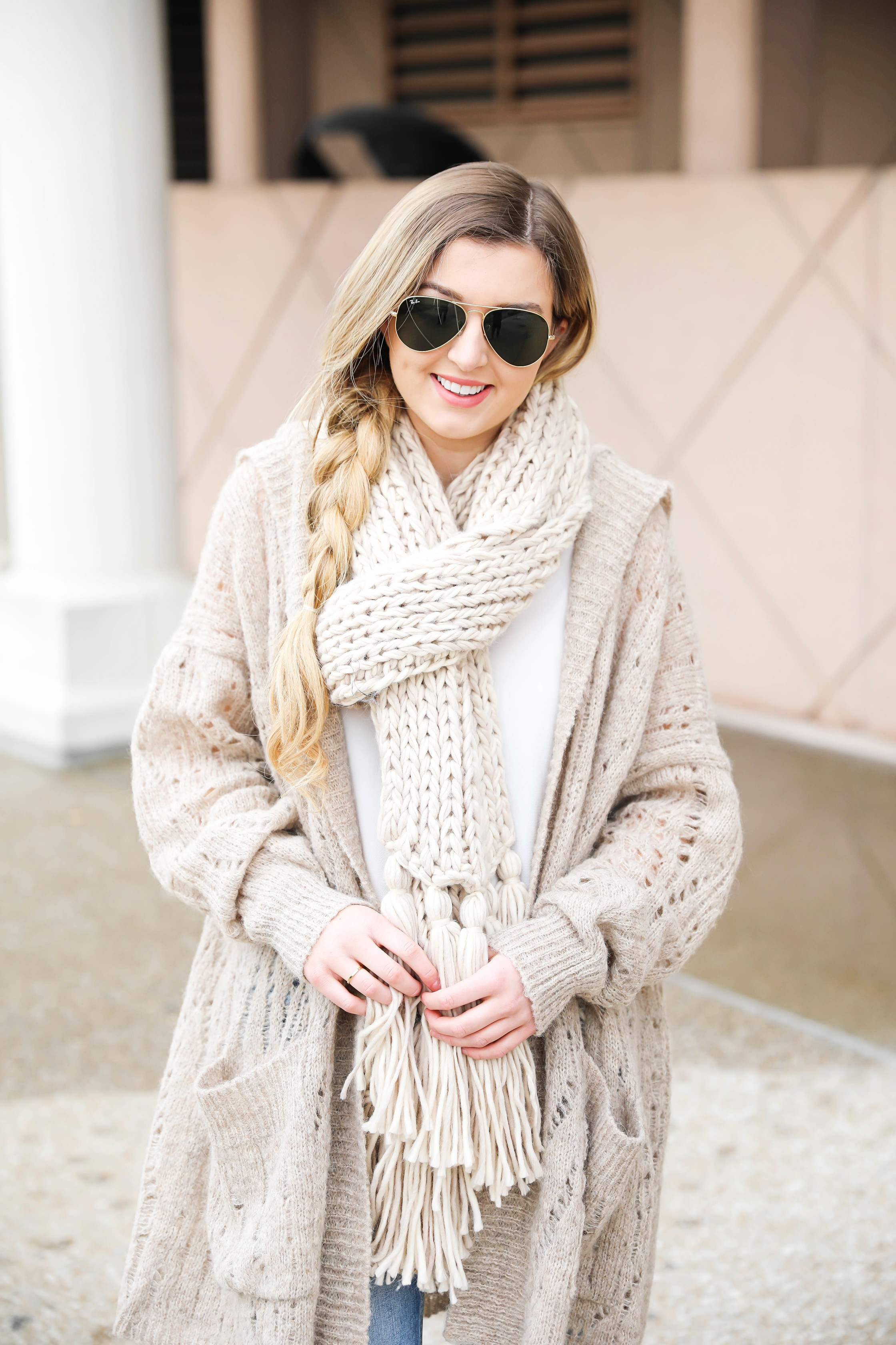 Hooded Free People cardigan! I love this knit cardigan paired with this cozy knit scarf! fit I paired this outfit with my mom jeans to finish the look! Details on fashion blog daily dose of charm by lauren lindmark