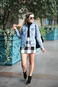 Jean jacket and plaid skirt at the Venetian Hotel & Casino in Las Vegas! Details on fashion blog daily dose of charm by lauren lindmark