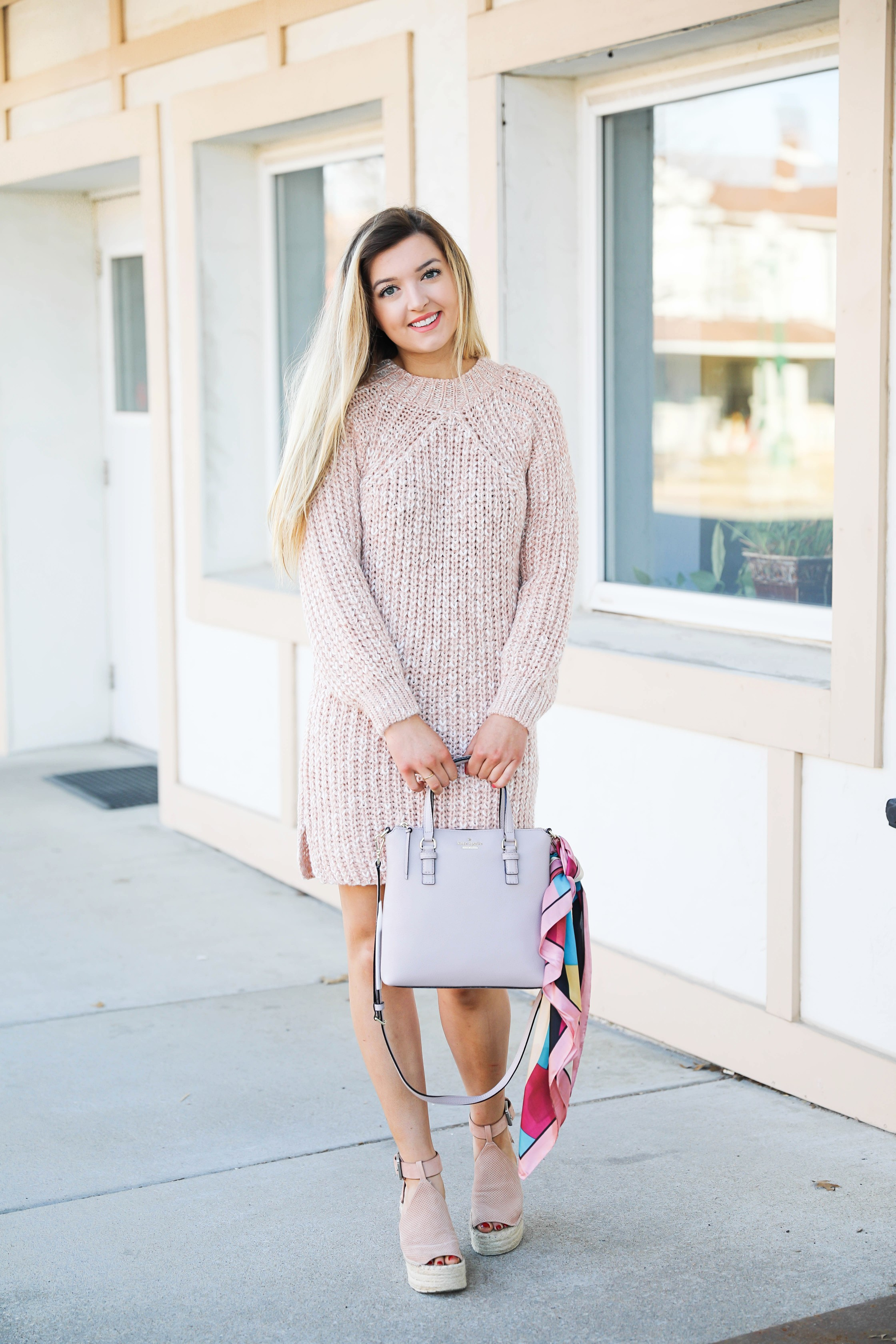 8678bc966bed0 ... Pink sweater dress with kate spade bag! I love this Kate Spade bag with  the ...