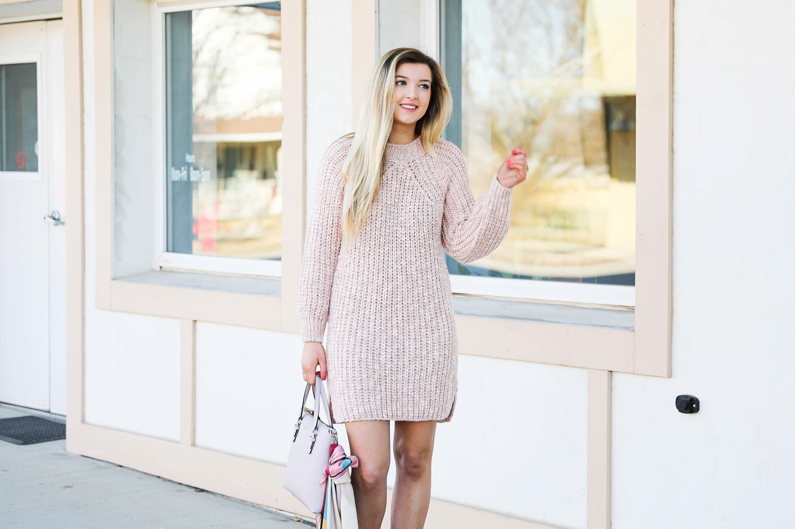 Pink sweater dress with kate spade bag! I love this Kate Spade bag with the pink scarf tied on it! It really adds some cute feminine flair! My new favorite purse! Details on fashion blog daily dose of charm by lauren lindmark