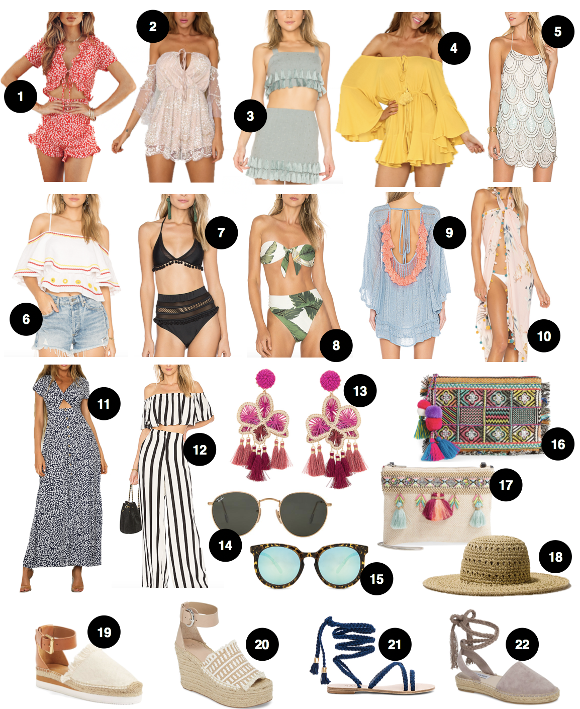 Spring clothing and spring break clothing, accessories, and shoes roundup! Spring break outfit ideas! Daily Dose of Charm by Lauren Lindmark