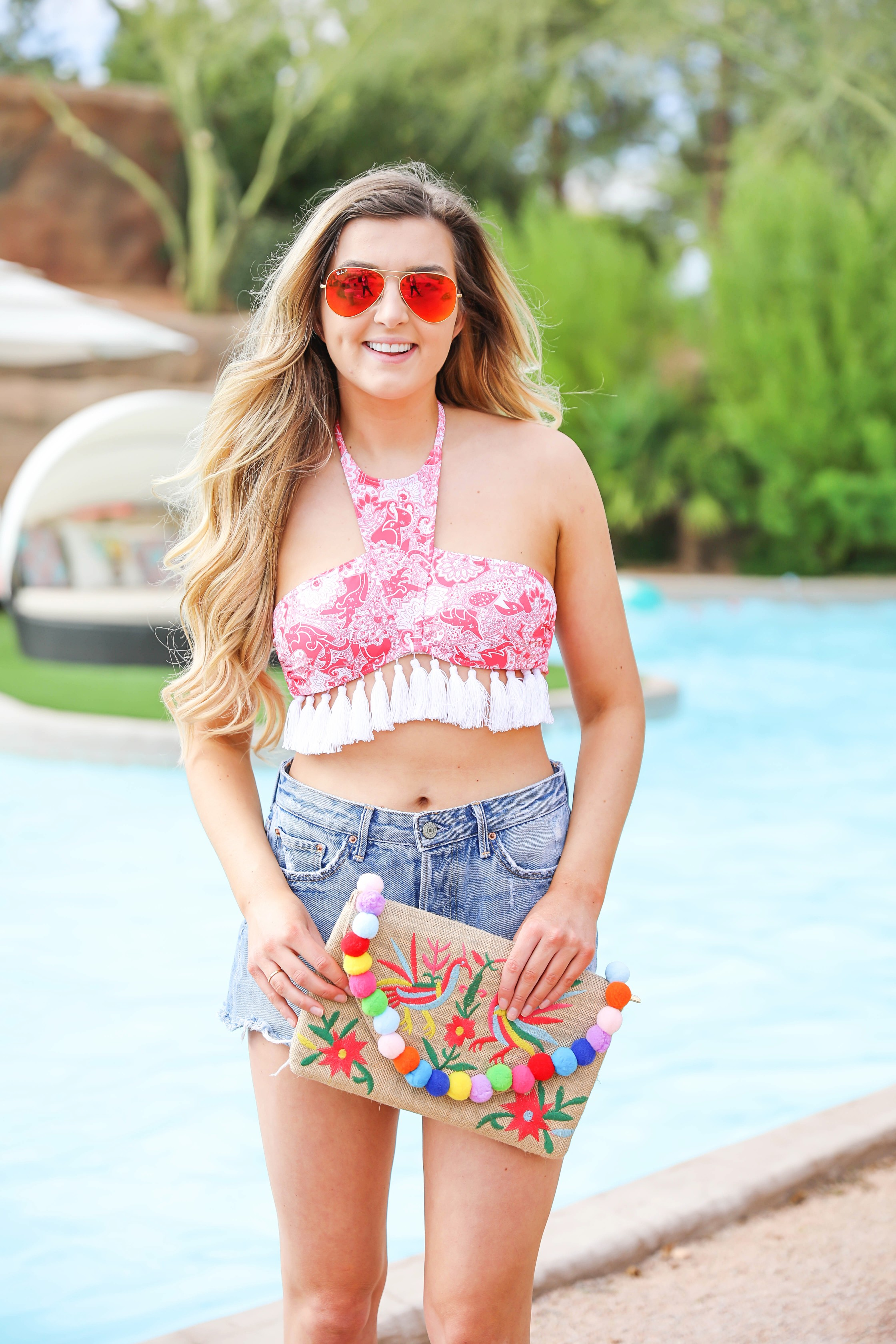 Red Dress Boutique swimsuit! Cute pink tassel bikini with mom shorts! Cute spring break outfit idea on fashion blog daily dose of charm by lauren lindmark