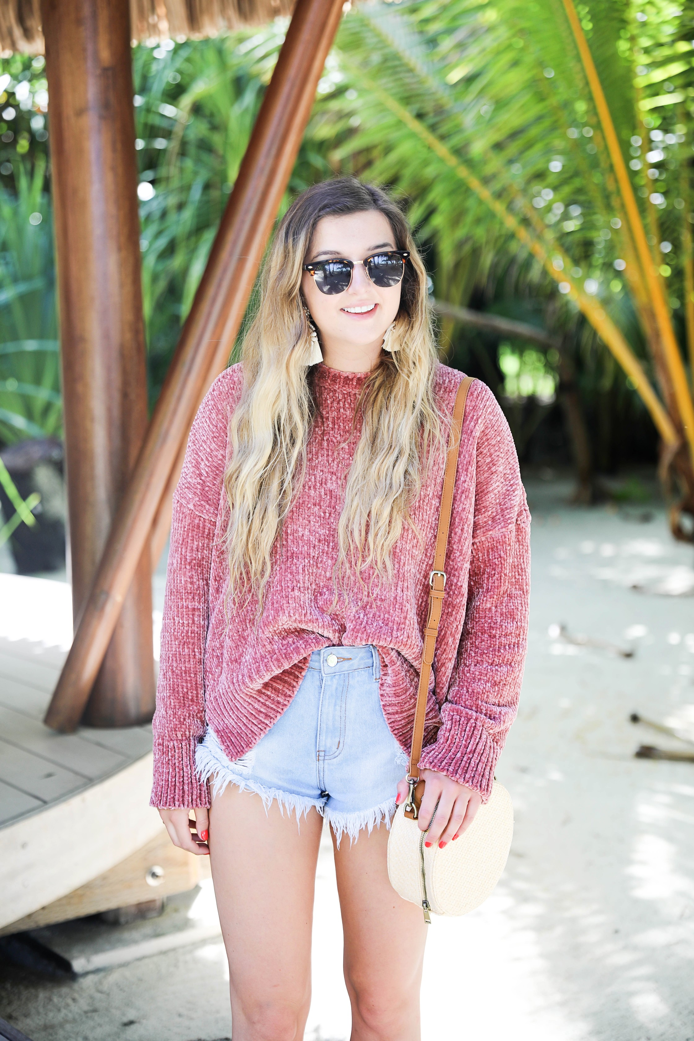 Soft show me your mumu chenille sweater with chloe espadrille shoes travel details the brando tetiaroa on travel and fashion blog daily dose of charm by lauren lindmark