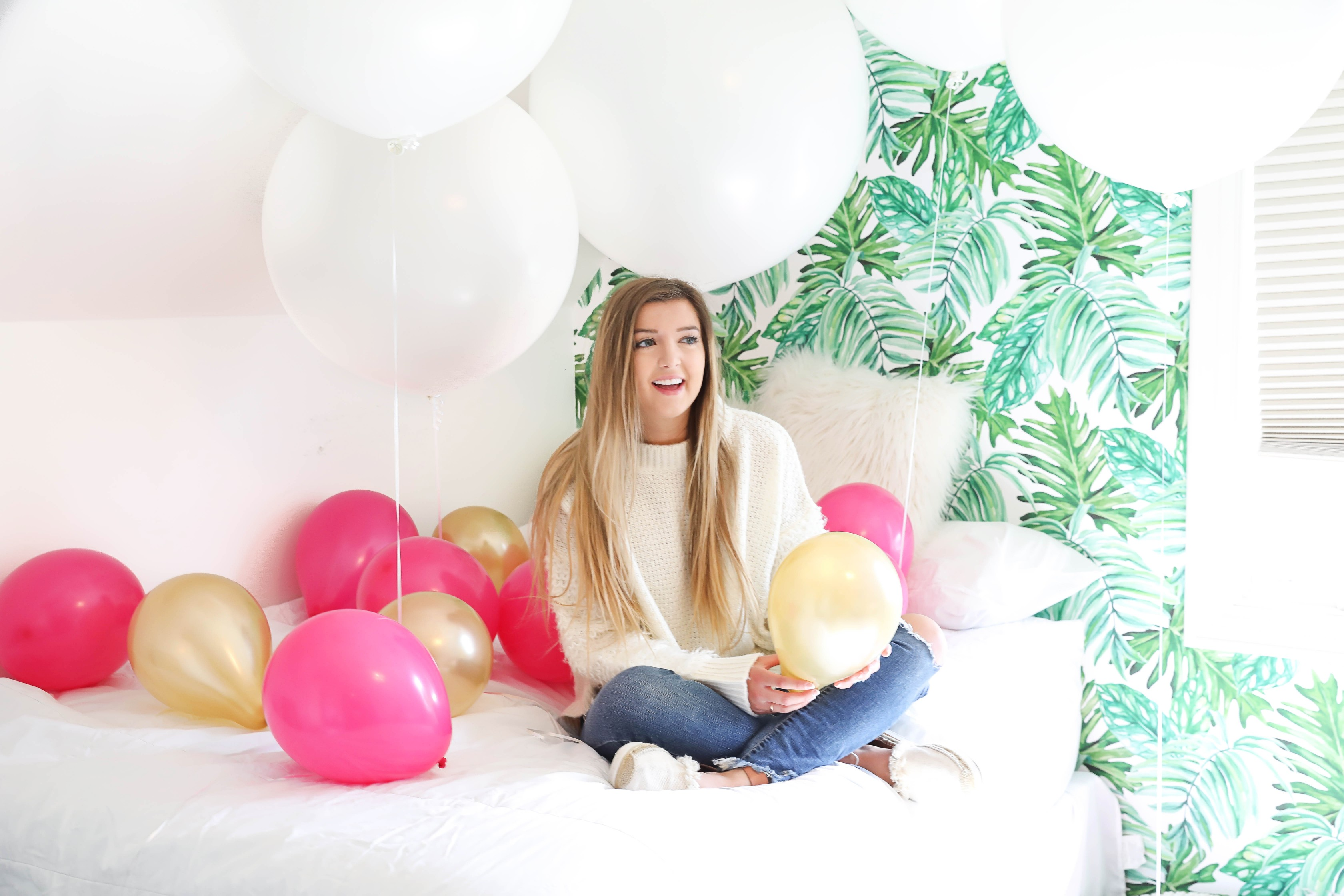 Birthday photoshoot with balloons on the bed fashion blog daily dose of charm by lauren lindmark