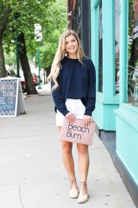 J.Crew preppy outfit idea! How to style white chino shorts. The cutest navy top with a lace back! The cutest J.Crew summer outfit on fashion blog daily dose of charm by lauren lindmark