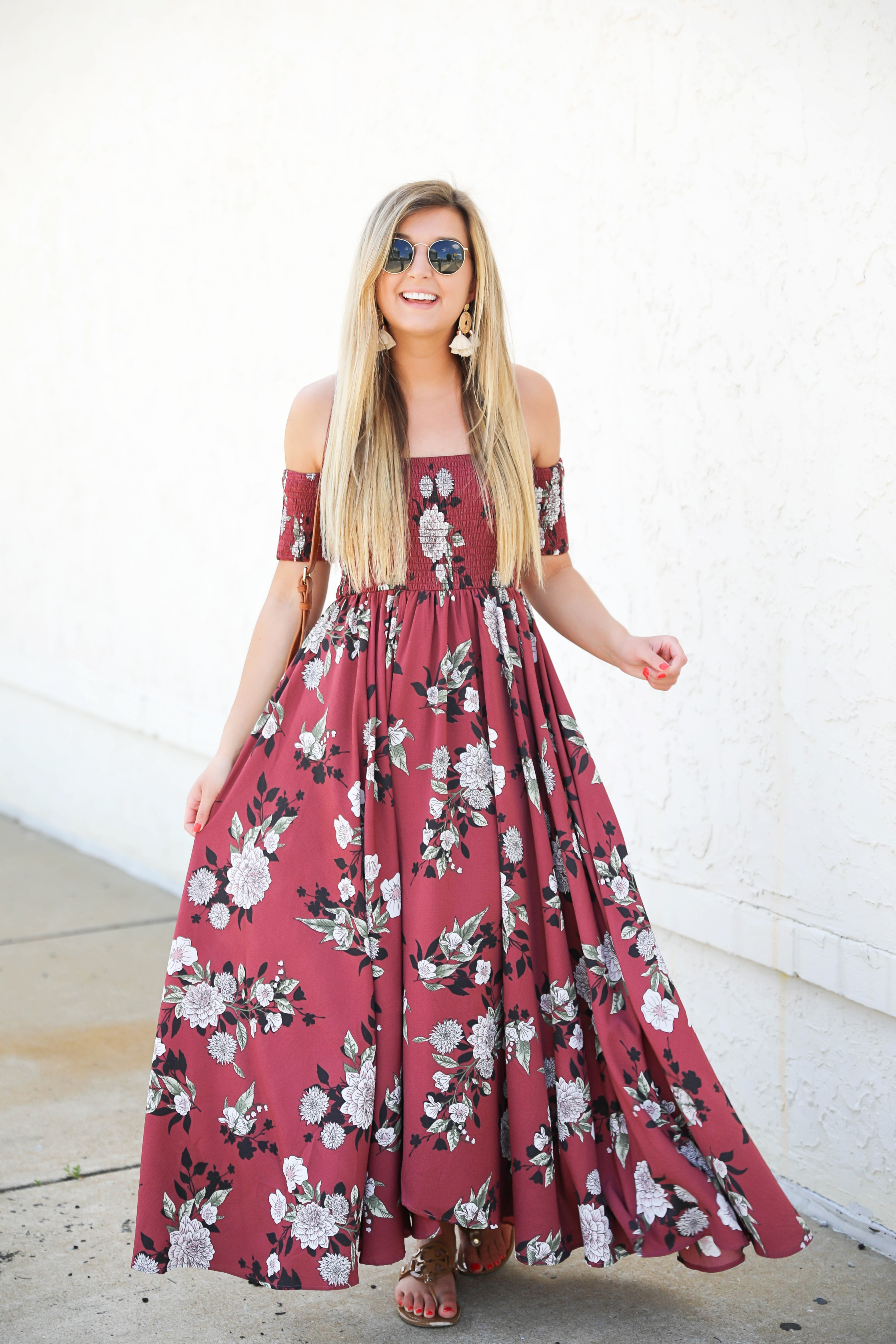 Mauve floral maxi dress from Showpo! This cute sundress is perfect for summer! I love off the shoulder dresses and it's so cute that it is maxi! Details on fashion blog daily dose of charm by lauren lindmark
