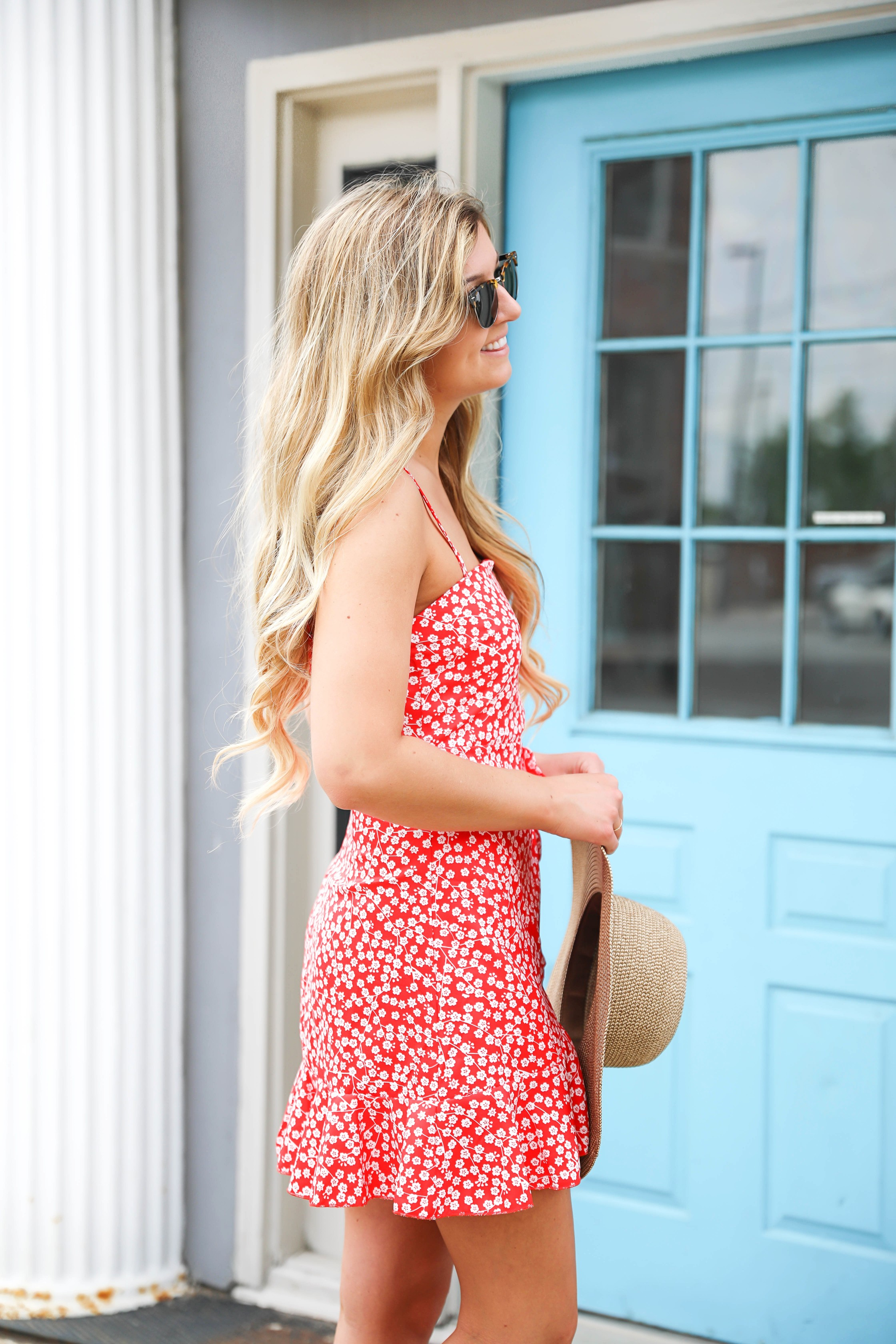 Red floral mini dress that ties in the front! This cute red and white floral dress is from Showpo, I love how it fits! This dress is perfect for summer, I paired the dress with a cute floppy hat! Details on fashion blog daily dose of charm by lauren lindmark