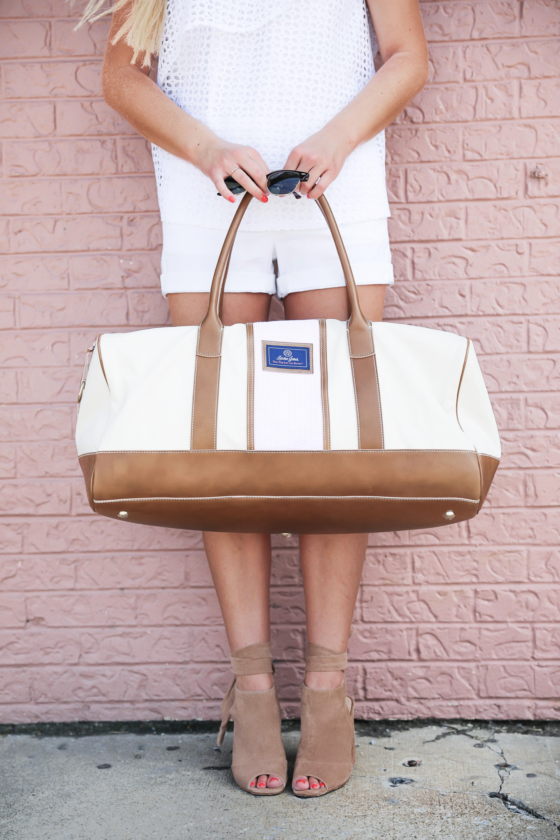 LJ Lauren James pink friday sale! I love this white off the shoulder ruffle top that is on sale! This cute and spacious lauren james duffle bag is also on sale! Details on fashion blog daily dose of charm by lauren lindmark