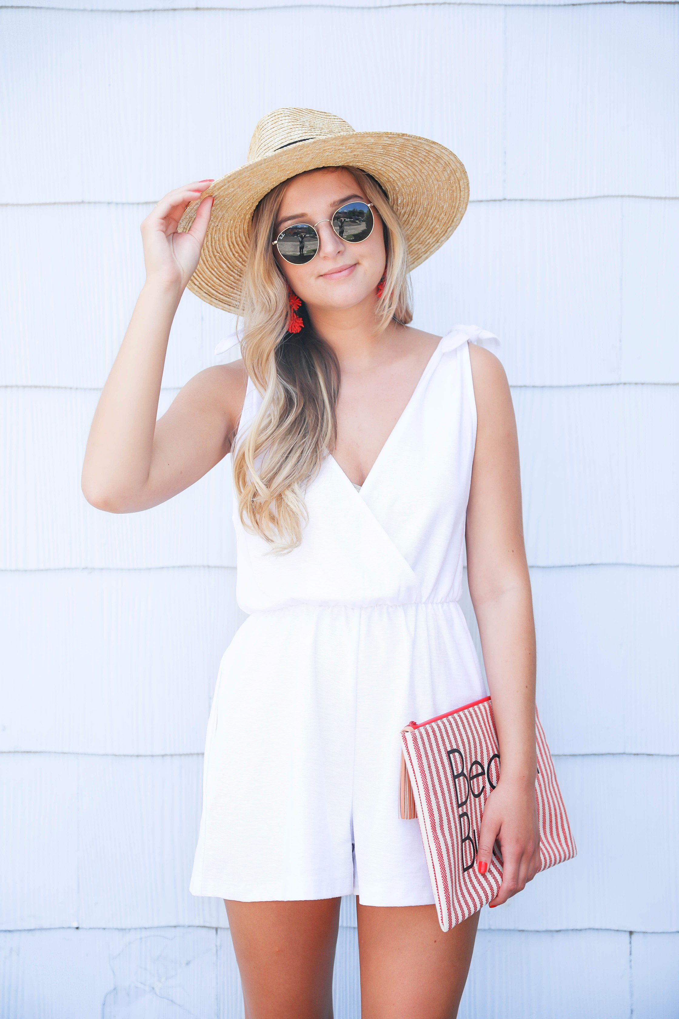dfcf4082acc White romper for summer! This romper has a cute plunging neckline and ties  on the ...