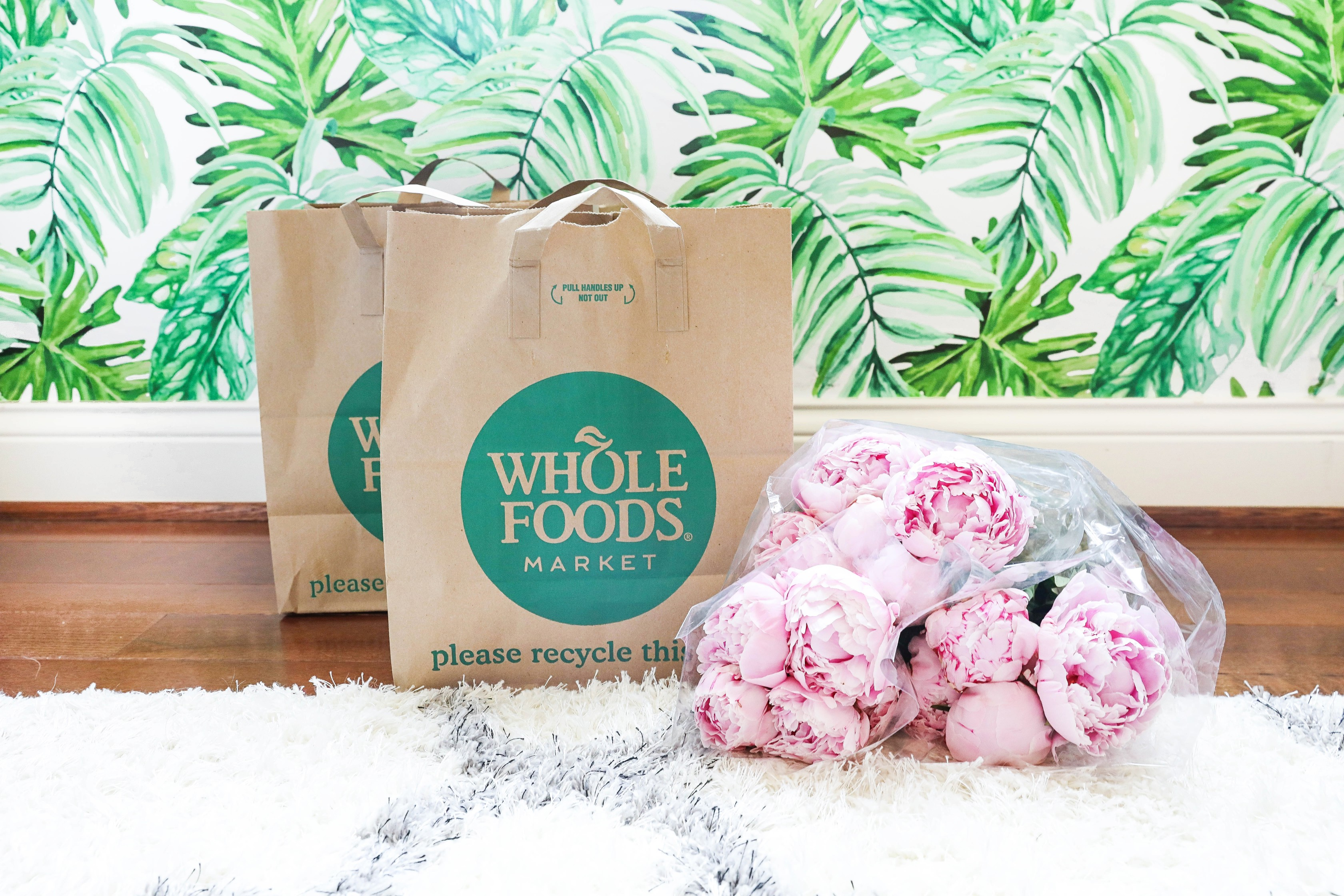 Whole Foods bags with pretty pink peonies! What I eat in a day! Dairy free recipes on lifestyle blog daily dose of charm by lauren lindmark