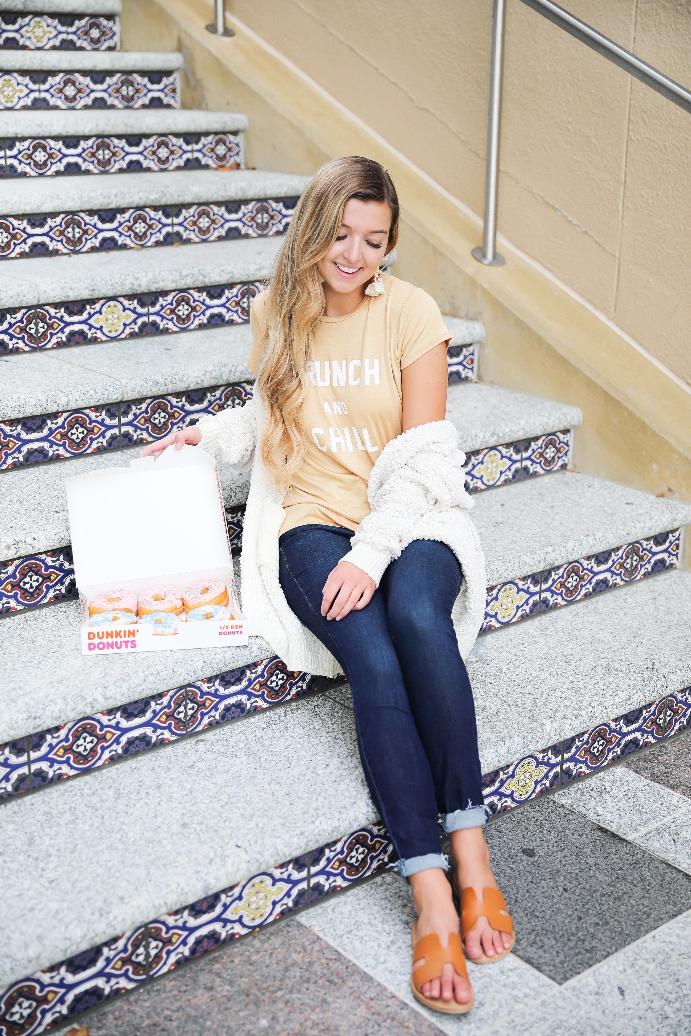 Brunch and chill tee! Super cute mustard yellow brunch tshirt paired with the cutest inexpensive dark blue jeans! Paired the look with my new ivory cardigan from the nordstrom anniversary sale 2018! Details on fashion blog daily dose of charm by lauren lindmark