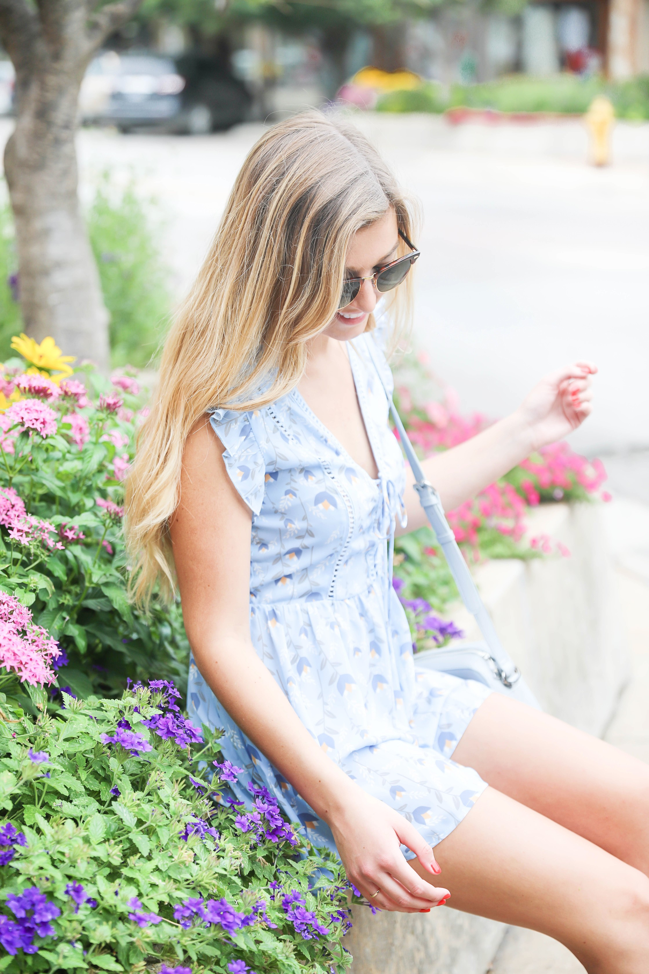 Cheeky Lemon Boutique outfit! This adorable light blue ruffle shoulder romper is perfect for summer! I love cute summer outfits, details on fashion blog daily dose of charm by lauren lindmark