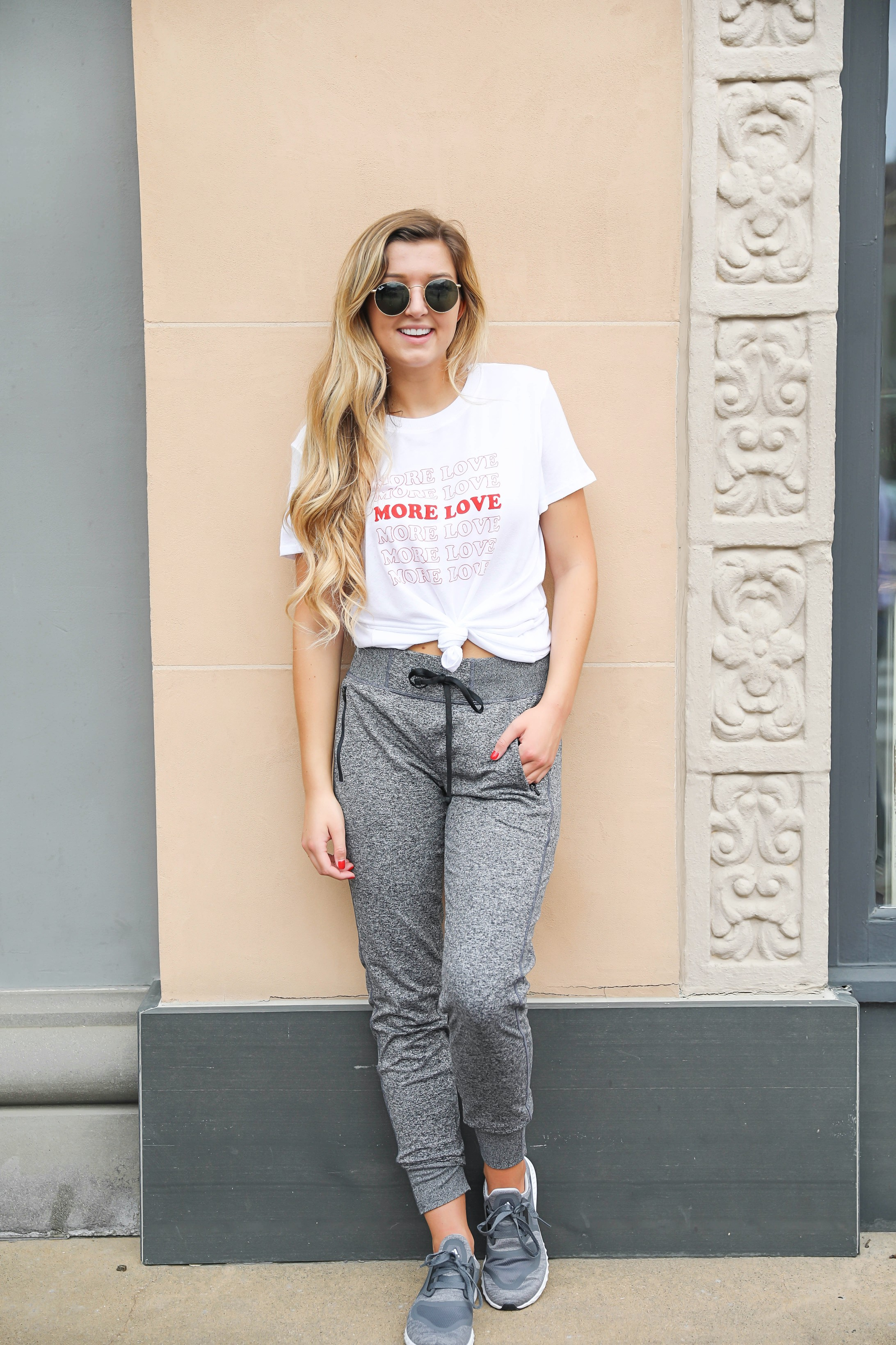 Love more tied tee with my favorite zella joggers! All included in the nordstrom anniversary sale 2018! Details on fashion blog daily dose of charm by lauren lindmark