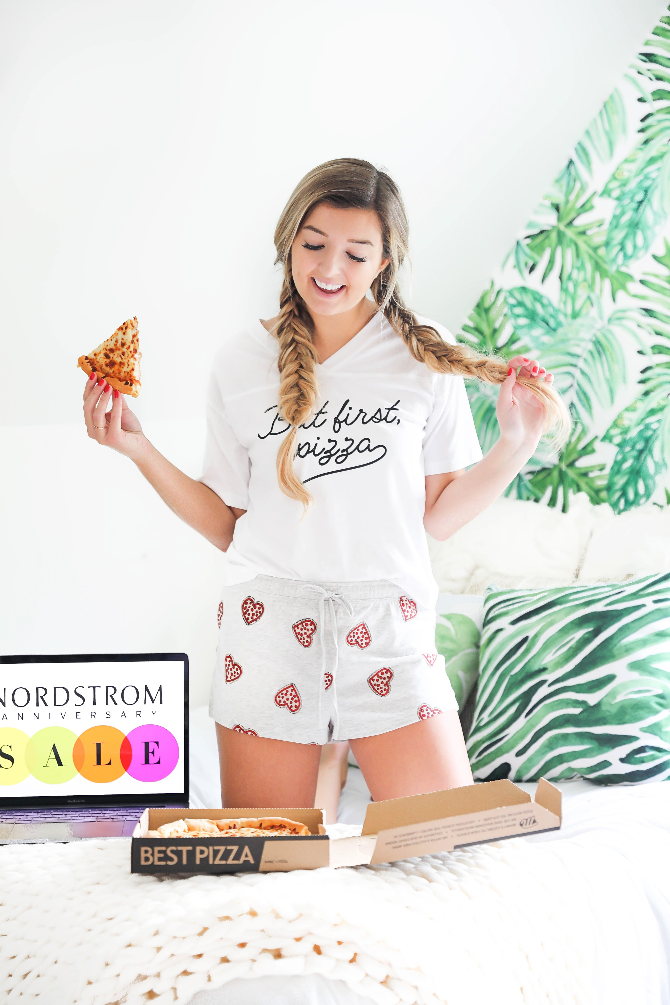 Nordstrom Anniversary Sale 2018! The biggest sale of the year! Everything you need to know about this year's sale! Adorable pizza pajamas! Nothing like a pizza and pj party while shopping! Details on fashion blog daily dose of charm by lauren lindmark