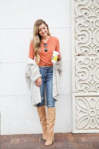 Orange twist top featured in the Nordstrom Anniversary sale paired with this adorable crochet free people cardigan that is also in the sale! They both come in multiple colors and look adorable with my Articles of Society jeans (on sale for $44) and my Sam Edelman boots that are also in the nordstrom anniversary sale 2018! Cutest fall outfit on daily dose of charm by lauren lindmark