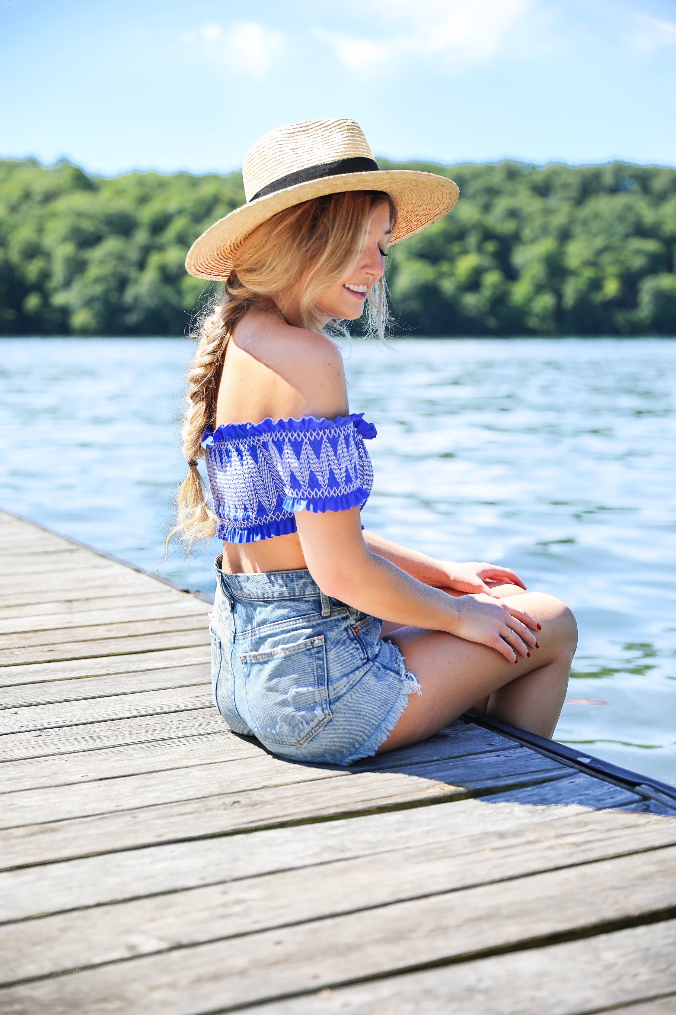 Hair care routine for summer! Royal blue Ted Baker London Smocked Bardot Bikini Top! I love this off the shoulder swimsuit, plus the colors is adorable! Paired with jean shorts at the lake! Perfect summer outfit! Details on fashion blog daily dose of charm by lauren lindmark