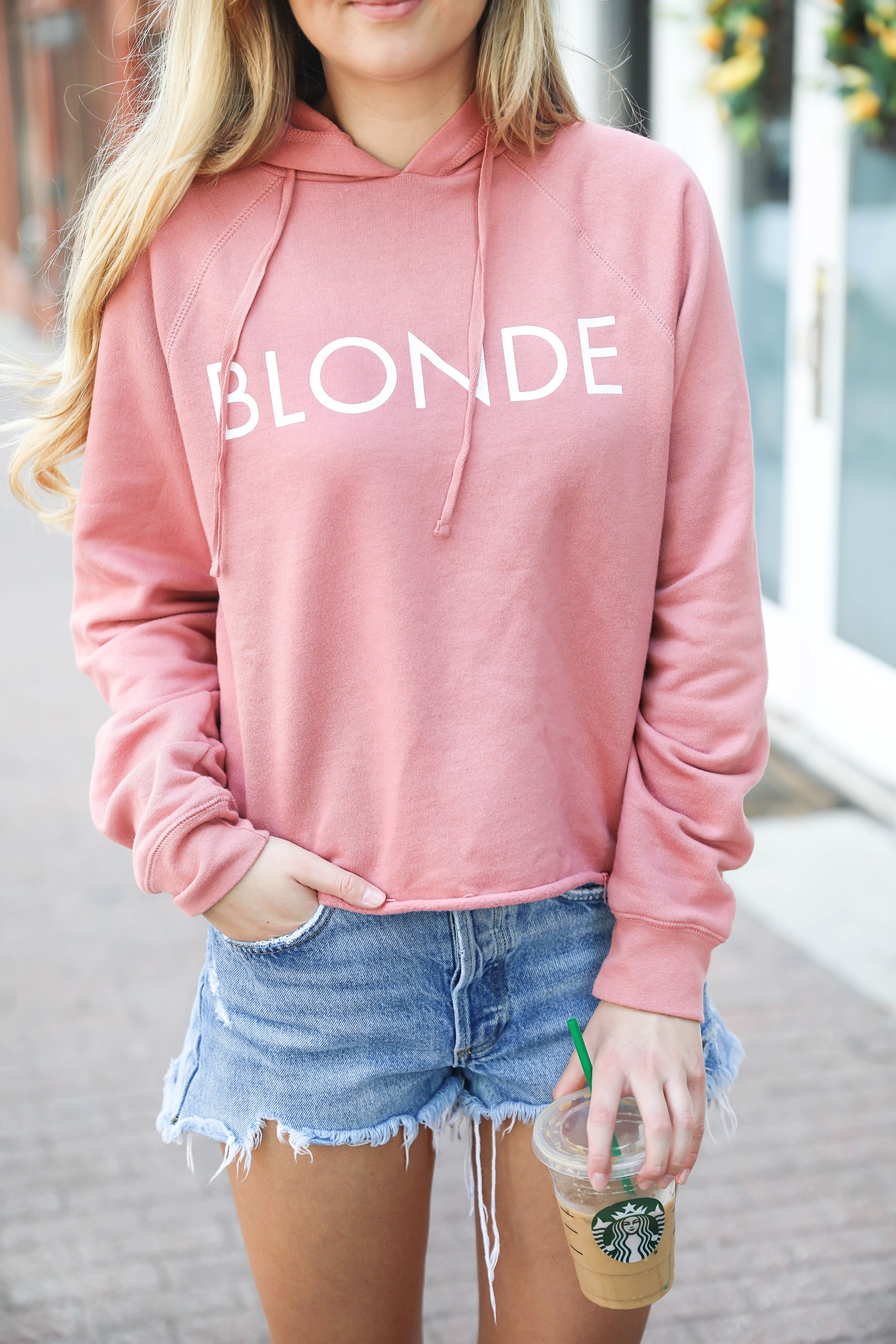 "Blonde sweatshirt! I love this cute coral sweatshirt that says ""Blonde."" It also comes in brunette and red head plus the sweatshirt comes in black and lavender! Such a fun summer style outfit! Details on fashion blog daily dose of charm by lauren lindmark"