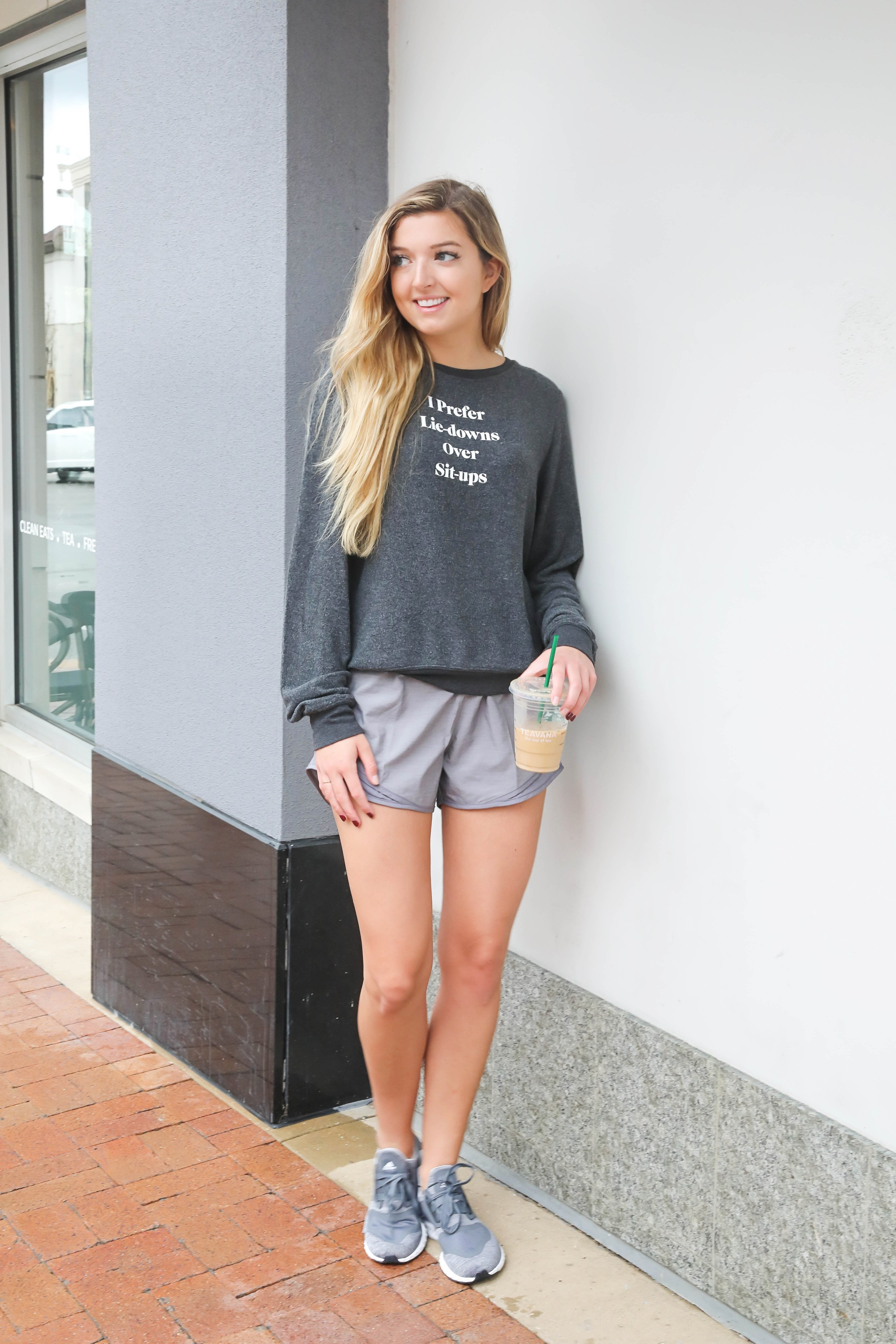 I prefer lie downs over sit ups sweatshirt! Super cute wildfox t-shirt that is super soft! I am a sucker for anything soft and cozy, which is why I am doing a comfy clothing roundup on my fashion blog! Details on daily dose of charm by lauren lindmark