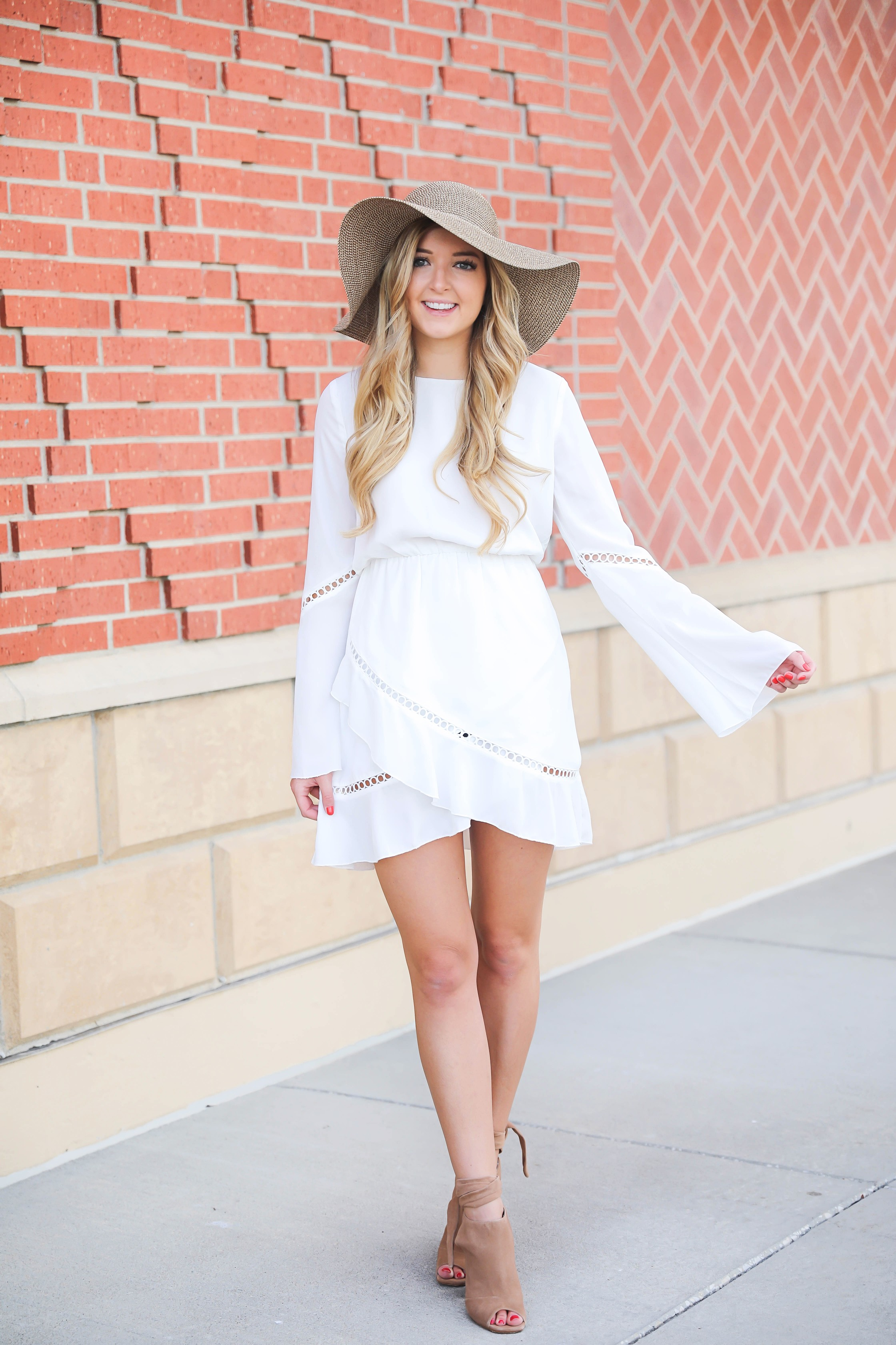 White dress roundup for sorority recruitment! During sorority recruitment a lot of girls have to wear white dresses, so I thought I would roundup some cute ones! These are also just cute dresses for summer! Details on fashion blog daily dose of charm by lauren lindmark