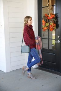 Burgundy knit sweater with the softest plaid oversized scarf! Paired with ripped denim jeans and my vince camuto booties! This is the perfect fall outfit you need in your closet! A few pieces are from Red Dress Boutique which is the best online store, especially for fall clothes! Details on fashion blog daily dose of charm by lauren lindmark