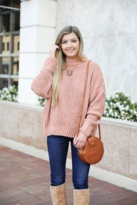 Oversized soft pink sweater! I love a cute inexpensive sweater, especially when it is comfy too! I paired mine with dark jeans and tan knee high boots by Sam Edelman! I also threw on my tortoise shell monogram necklace and faux leather bag! Details on fashion blog daily dose of charm by lauren lindmark