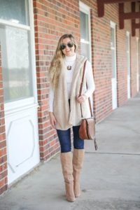 Teddy bear vest for fall! I love soft clothing and this long vest makes for the perfect fall outfit! I paired with a cute white turtleneck and monogram necklace! Plus my favorite shoes for fall are these tan sam edelman boots! Details on fashion blog daily dose of charm by lauren lindmark