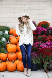 Braided sweater from Core Boutique with dark denim and my favorite felt hat! Fall fashion ideas on fashion blog daily dose of charm by lauren lindmark