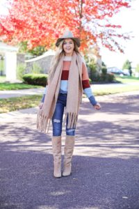 Colorblocking sweater from Madewell! Love this fall leaves picture! This fall outfit is perfect, I especially love the heavy scarf! Detail on fashion blog daily dose of charm by lauren lindmark