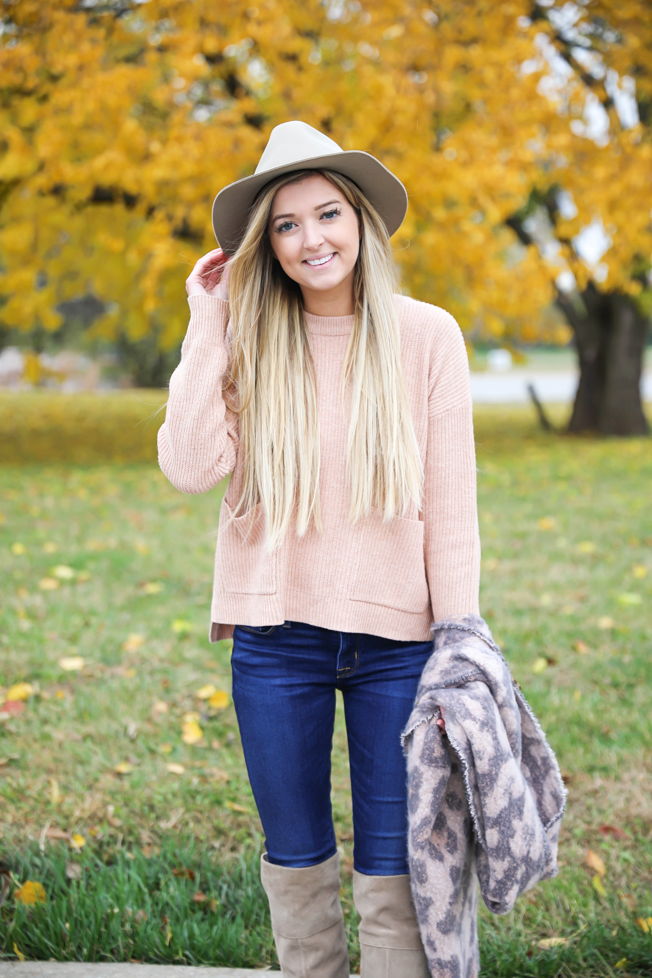 Pink and grey leopard scarf paired with a cute cream Madewell sweater! This sweater has the cutest pockets! I paired the fall look with denim jeans, Vince Camuto over the knee boots, and my tan felt hat! Details on fashion blog daily dose of charm by lauren lindmark
