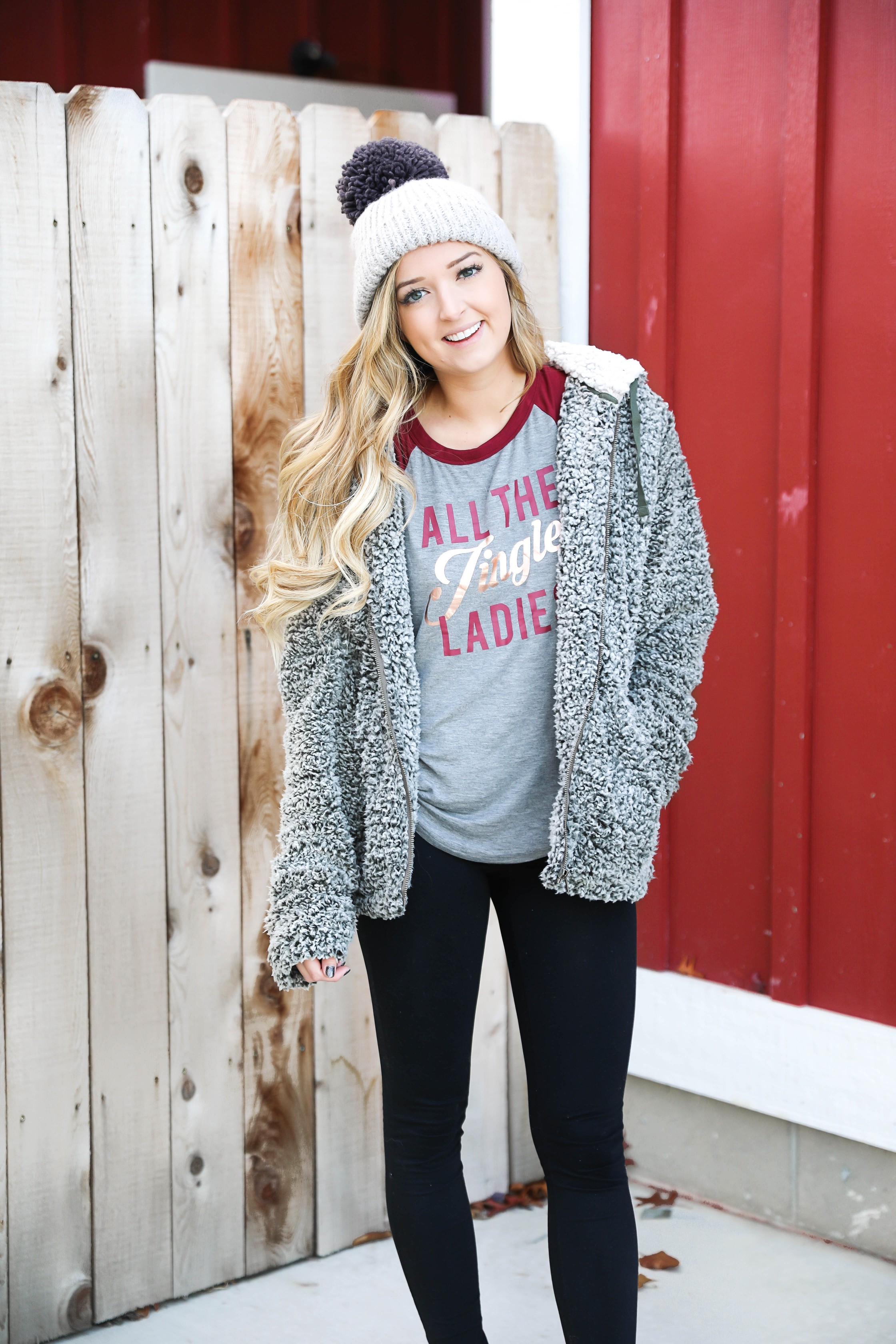 The softest sherpa zip up jacket! This Jacket is so comfortable and adorable for the holidays! I wore it with this cute grey beanie and all the jingle ladies shirt! Cute idea for a comfy winter outfit! Details on fashion blog daily dose of charm by lauren lindmark