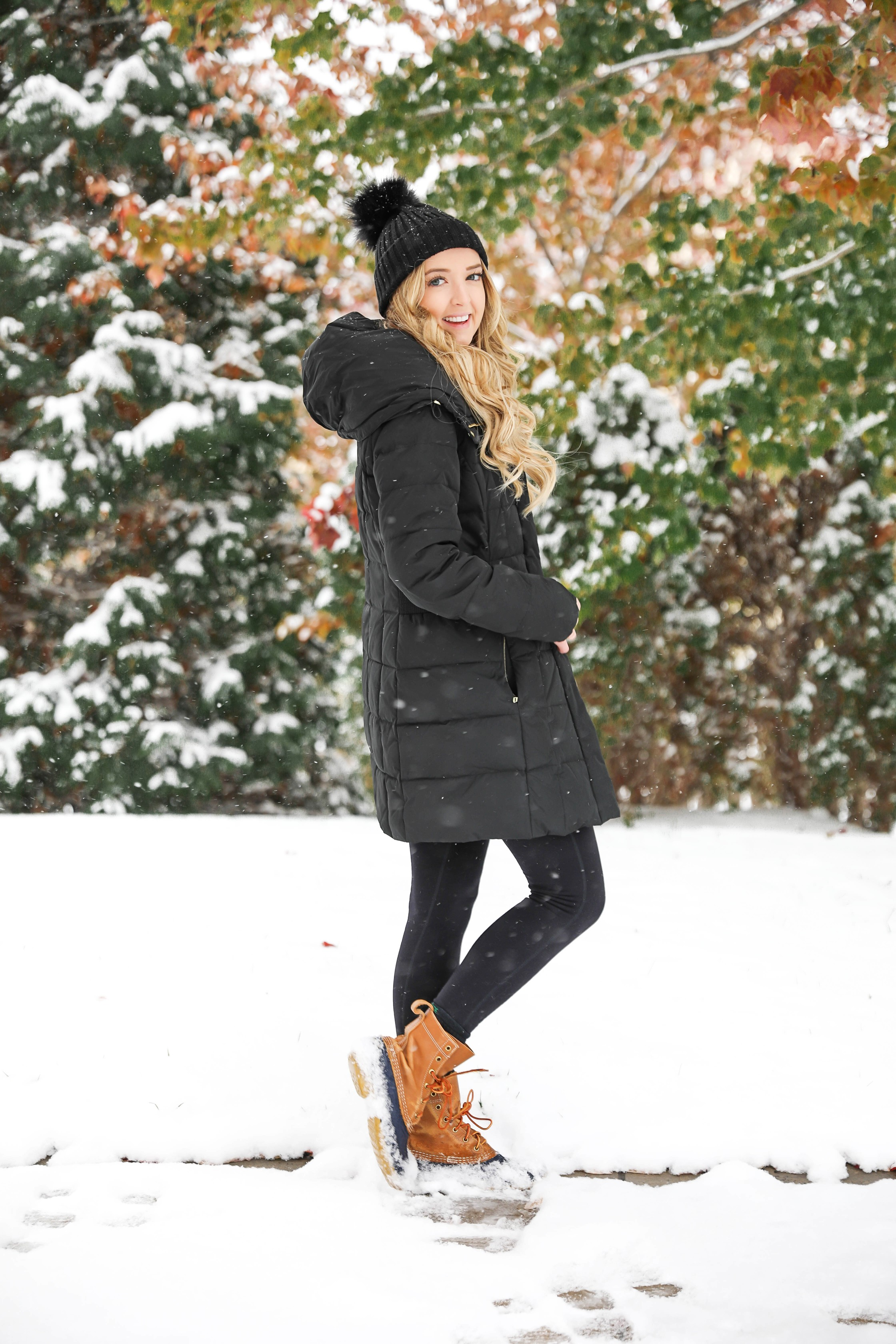 The best winter coat for this winter! This coat is so flattering and warm! It's by Cole Haanm I love these winter photos and the prettiest snow! Details on fashion blog daily dose of charm by lauren lindmark