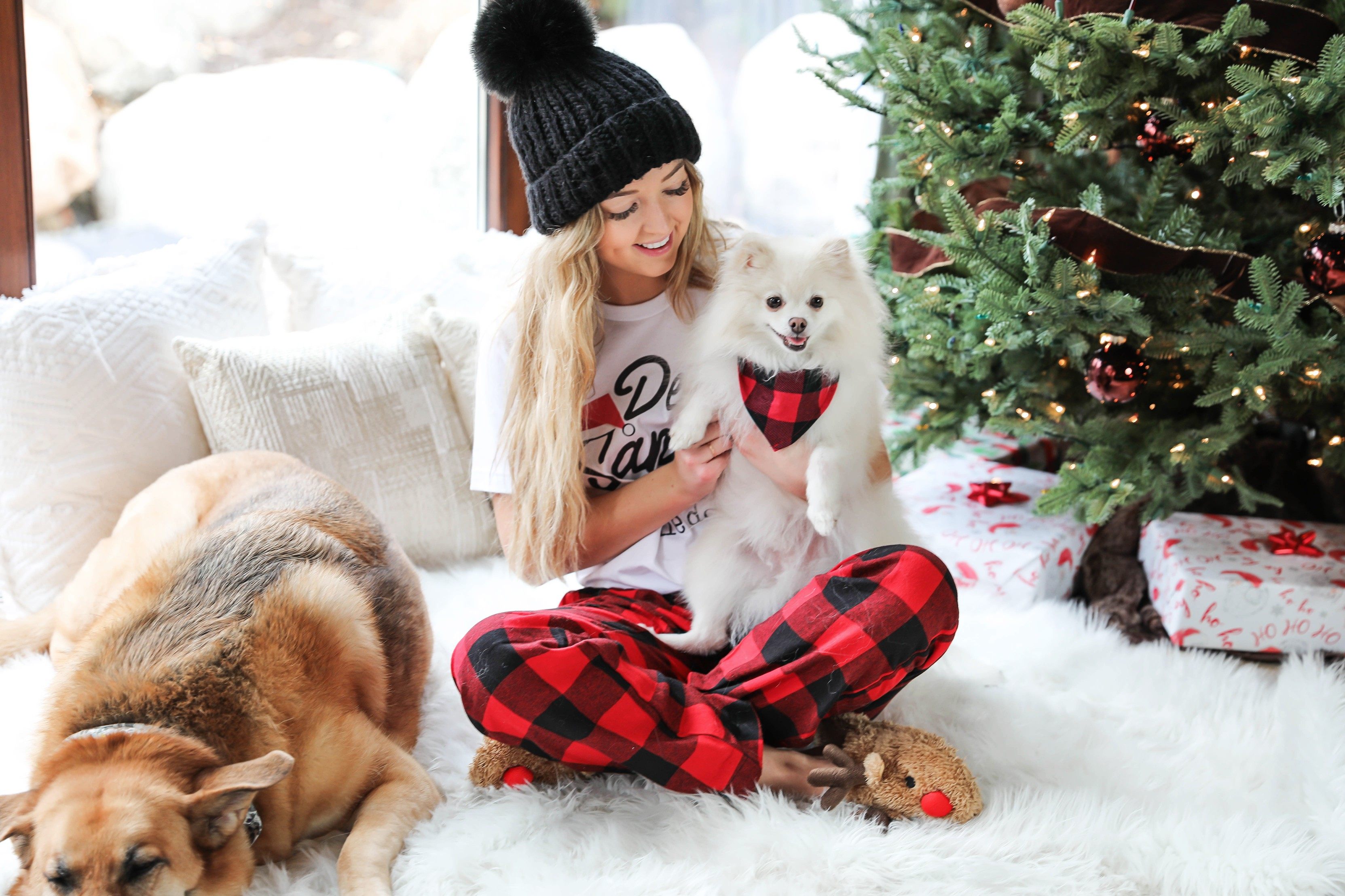 Matching pajamas with my puppy! My dog and I wear matching chrismas pjs every year! This is my puppy, beau, the pomeranian! Cute Christmas photoshoot on fashion blog daily dose of charm by lauren lindmark